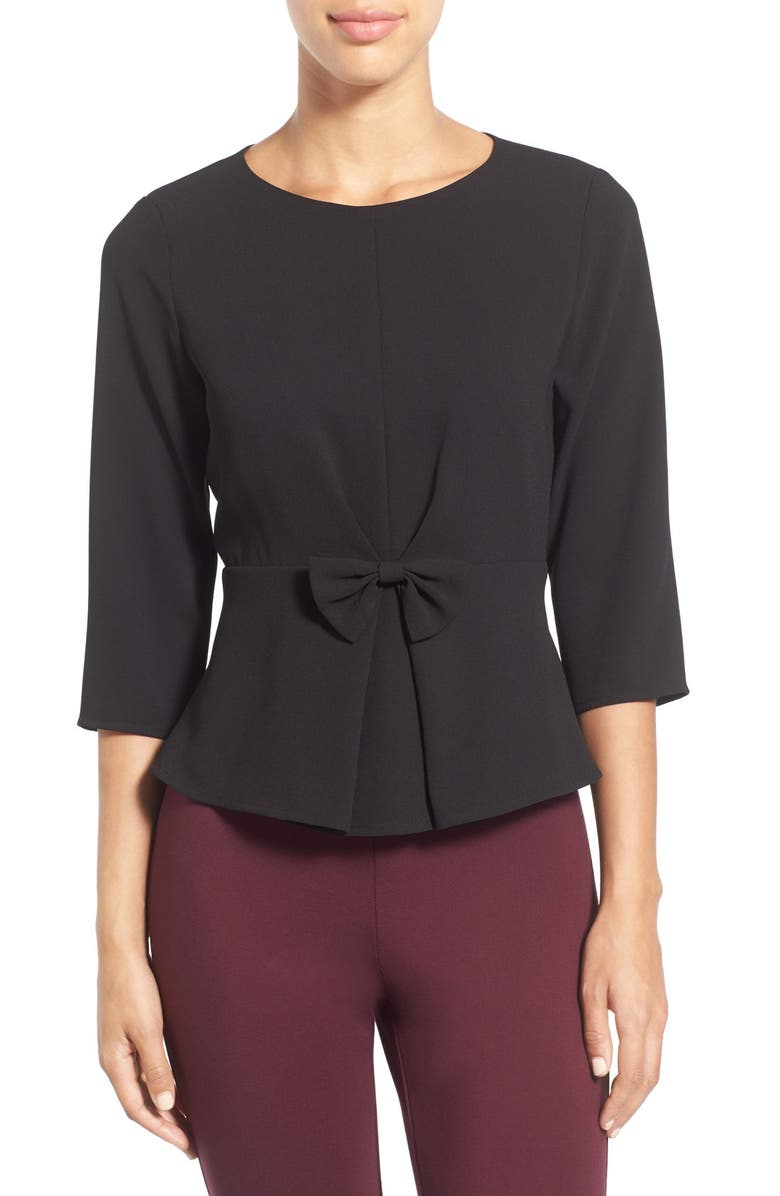 CECE Bow Detail Crepe Peplum Top, Main, color, 001