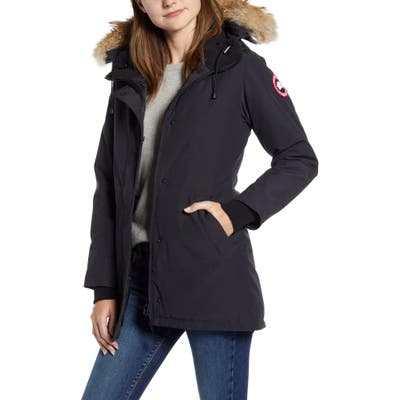 Canada Goose Victoria Fusion Fit Down Parka With Genuine Coyote Fur Trim, (6-8) - Blue