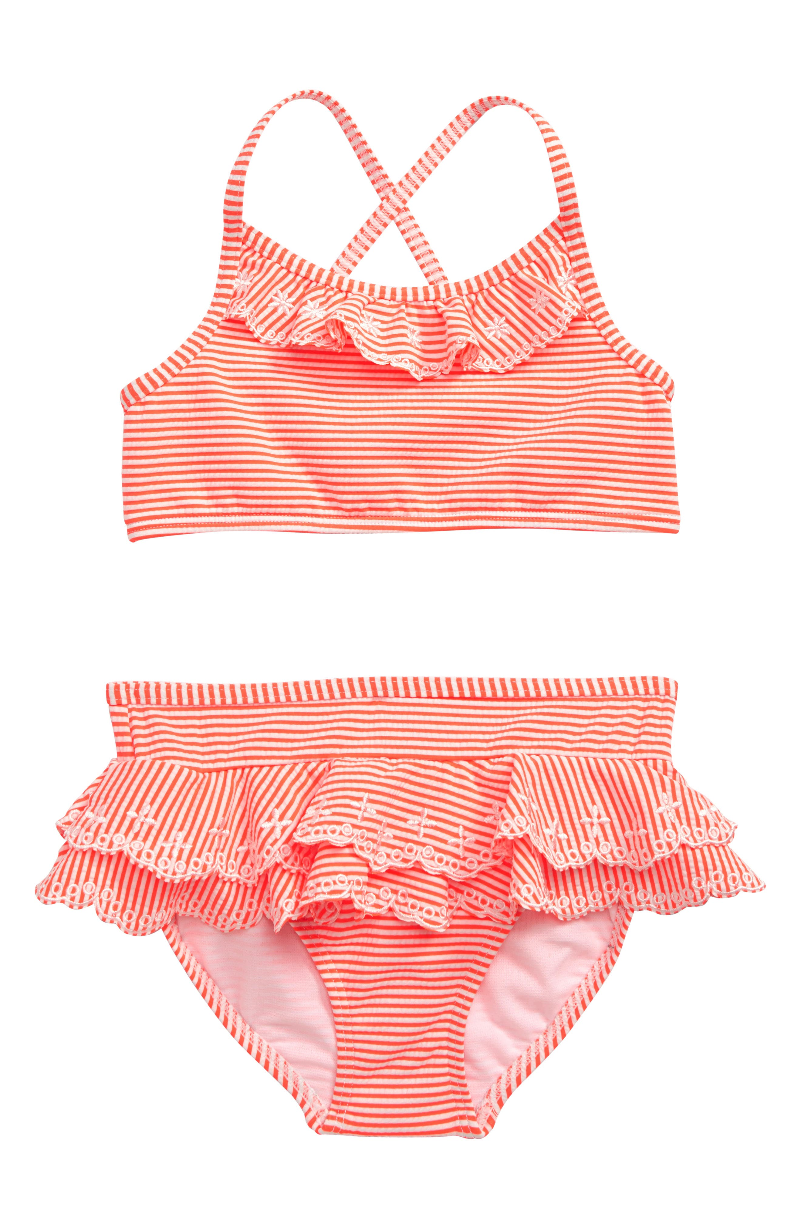 Girls Boden Pretty TwoPiece Swimsuit Size 45Y  Coral