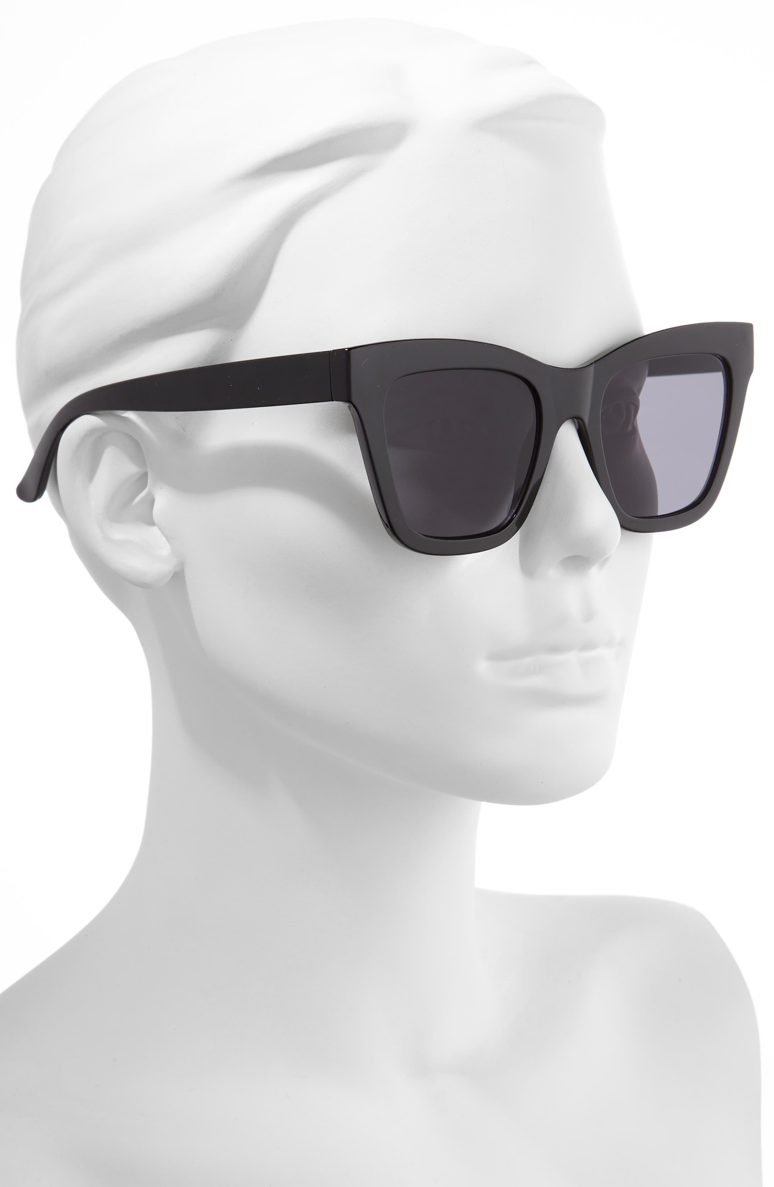 ,                             50mm Gradient Square Sunglasses,                             Alternate thumbnail 2, color,                             BLACK/ BLACK