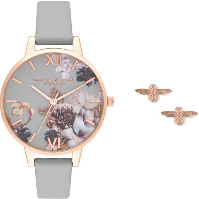 Olivia Burton Marble Floral Leather Strap Watch Set, (Nordstrom Exclusive)
