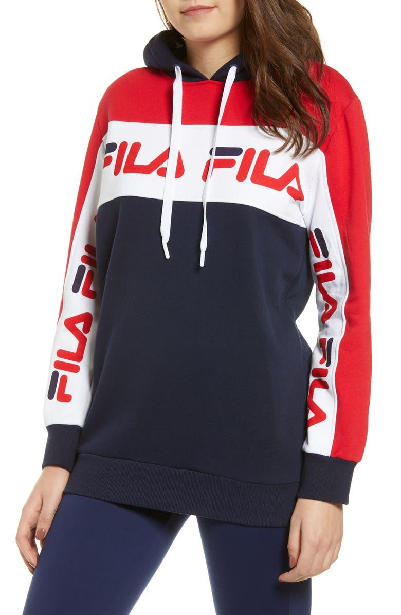 FILA Rita Oversize Hooded Sweatshirt, Main, color, PEA COAT/ CHINESE RED/ WHITE