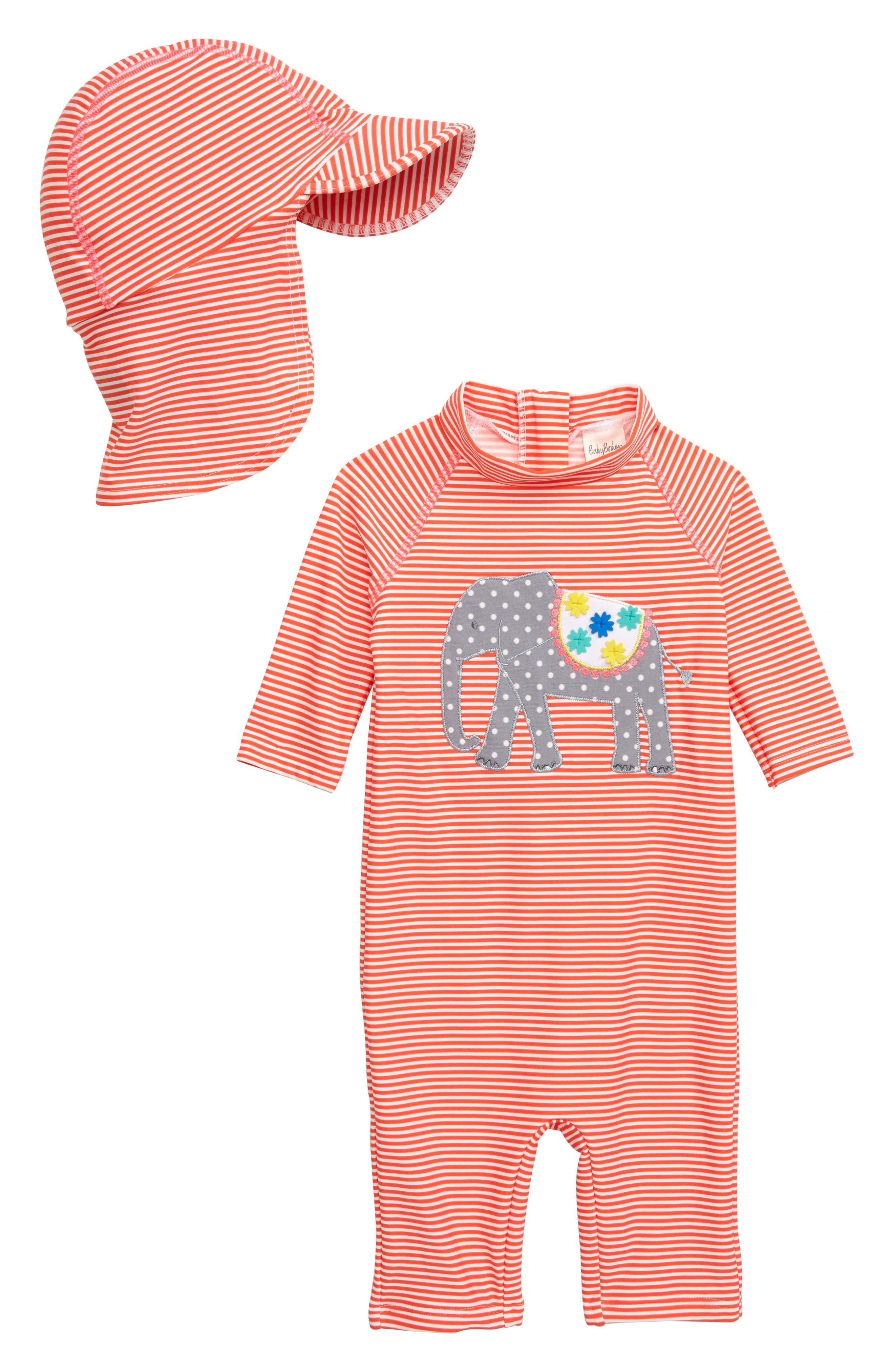c2eb7fe650 Infant Girl's Mini Boden Jungle Surf One-Piece Rashguard & Sun Hat Set, 8-2  - Red