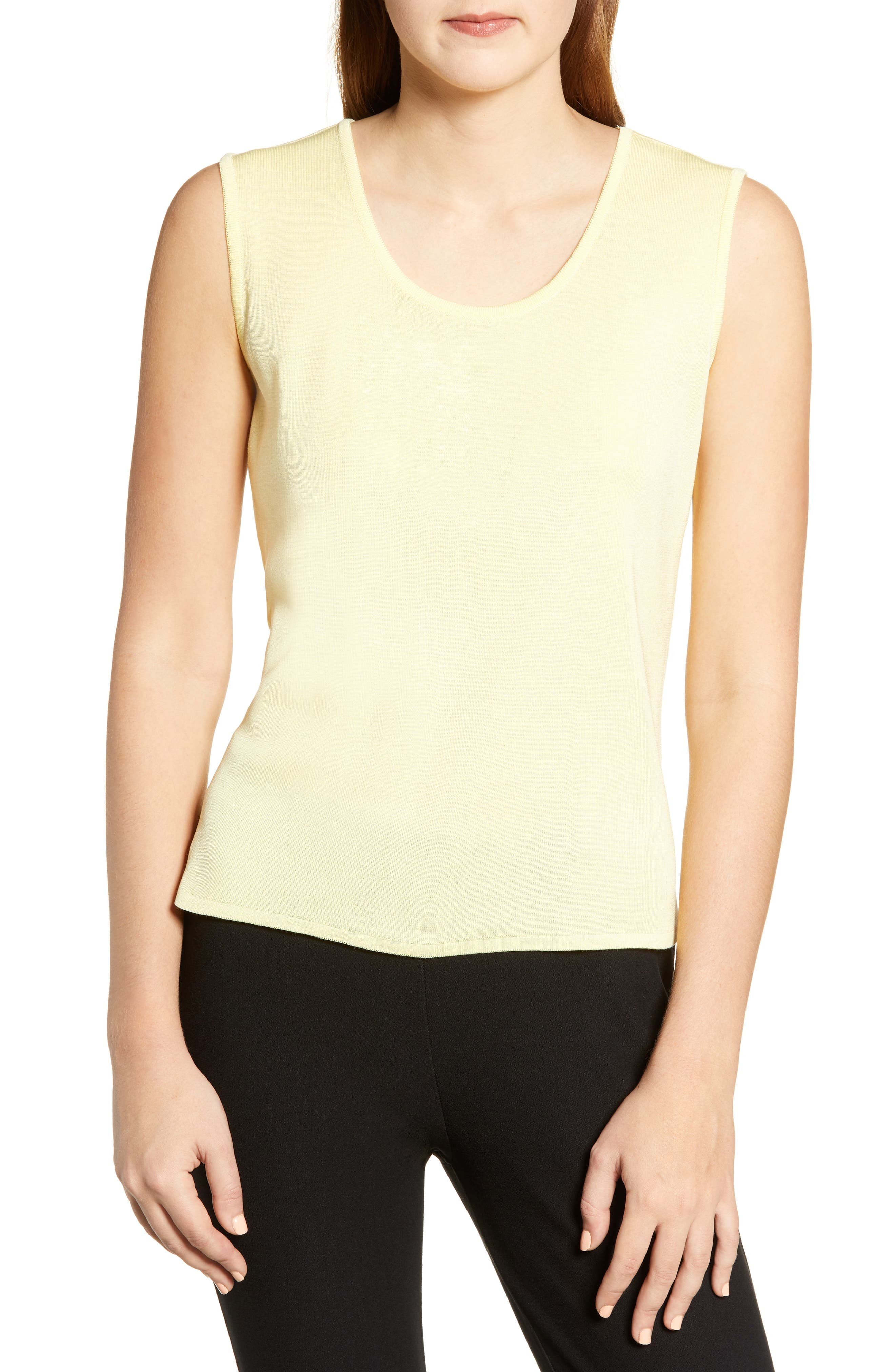 Ming Wang Scoop Neck Knit Tank, Yellow
