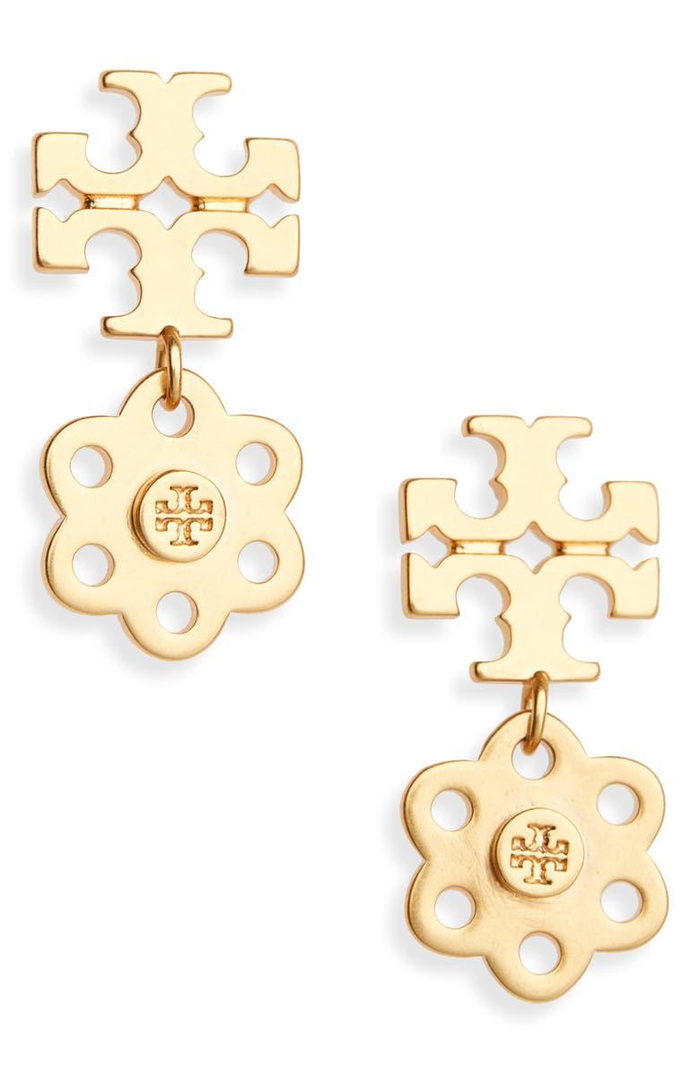 TORY BURCH Logo Charm Drop Earrings, Main, color, ROLLED BRASS 59