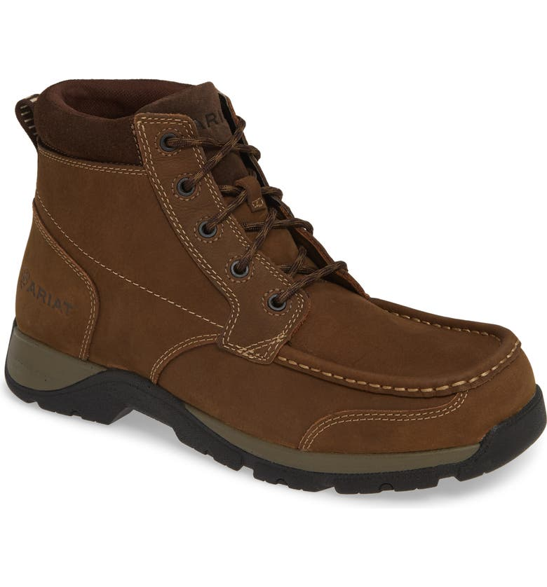 ARIAT Edge Moc Toe Boot, Main, color, DARK STORM LEATHER