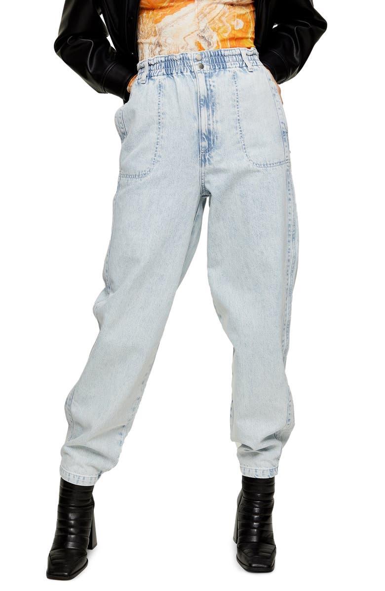 TOPSHOP Elastic Waist Baggy Jeans, Main, color, BLEACH