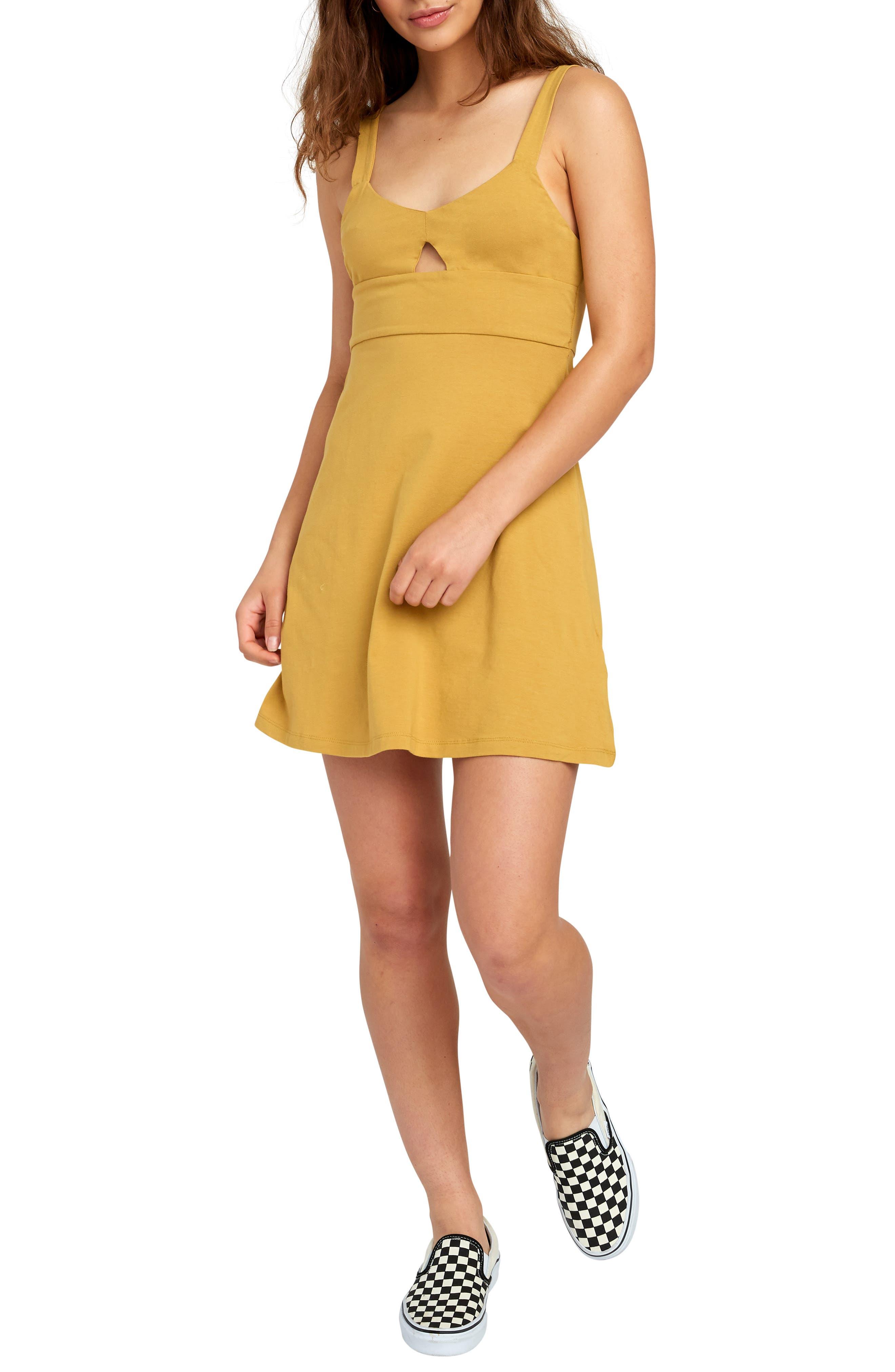 Rvca All Talk Keyhole Minidress, Yellow