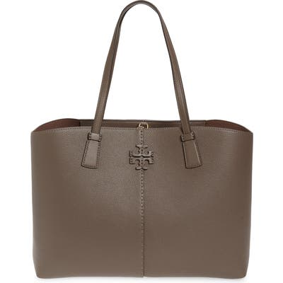 Tory Burch Mcgraw Leather Tote - Grey
