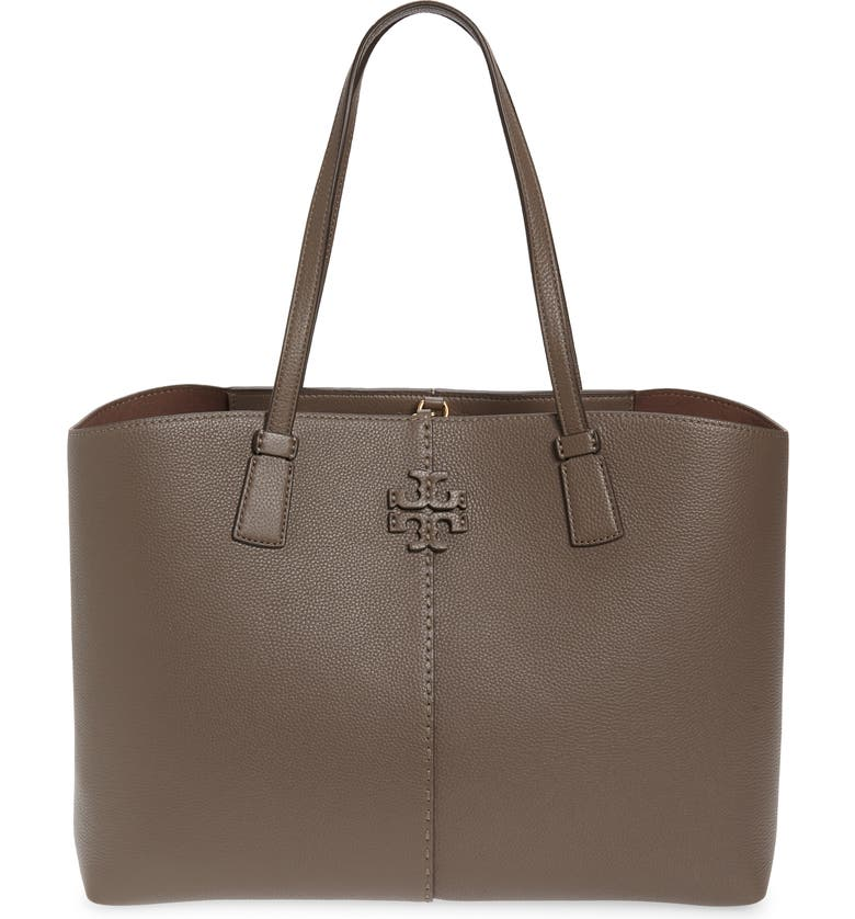 TORY BURCH McGraw Leather Tote, Main, color, SILVER MAPLE