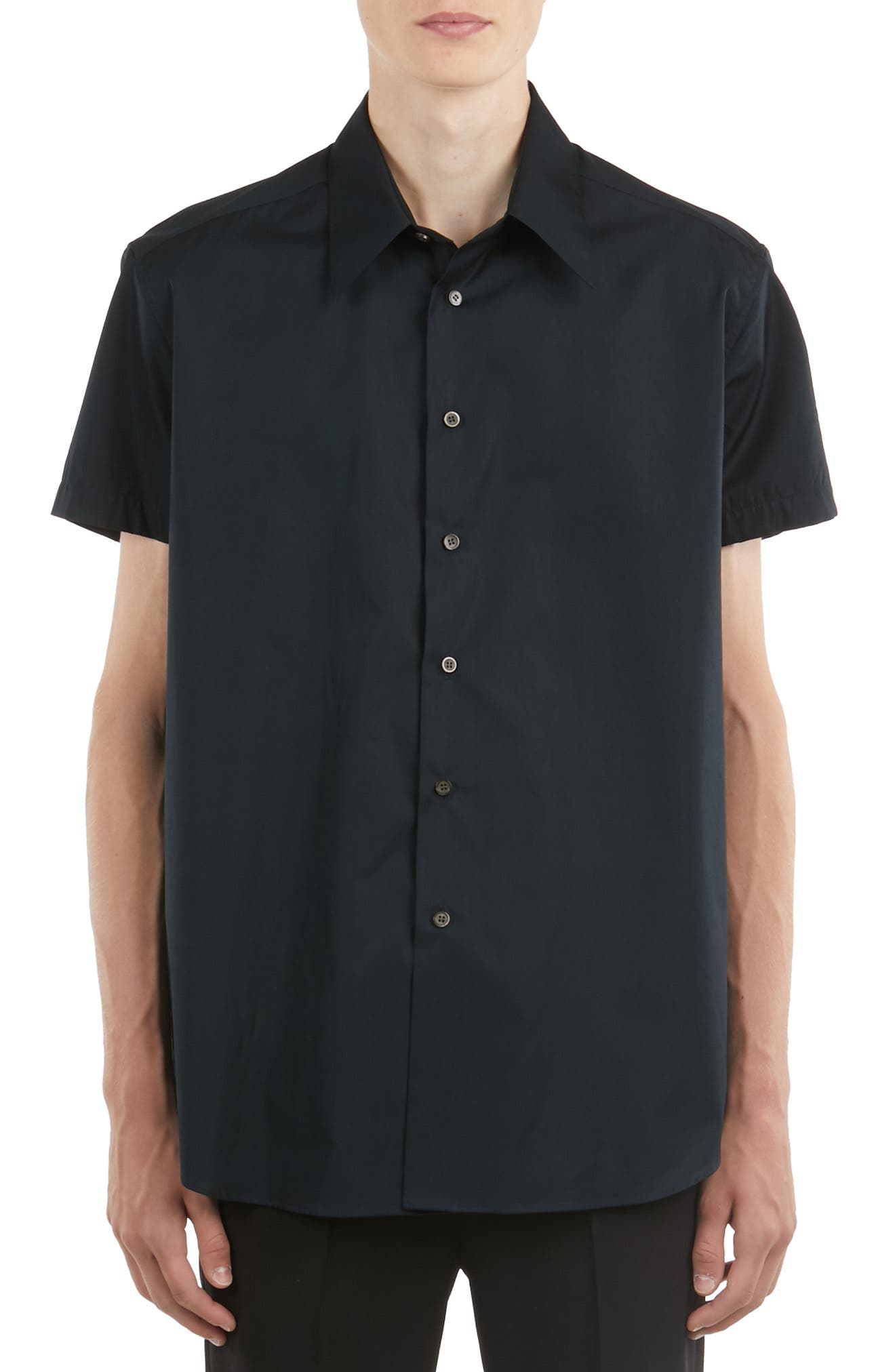 ,                             Logo Embroidered Woven Shirt,                             Main thumbnail 1, color,                             BLACK