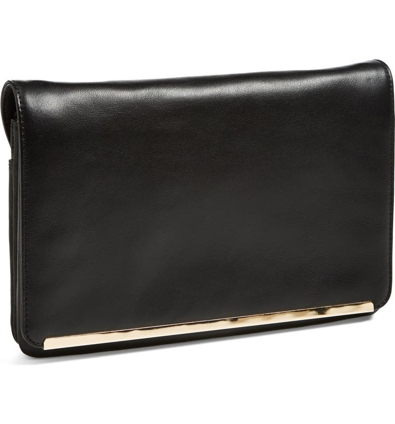 HALOGEN<SUP>®</SUP> Leather Foldover Crossbody Clutch, Main, color, 001