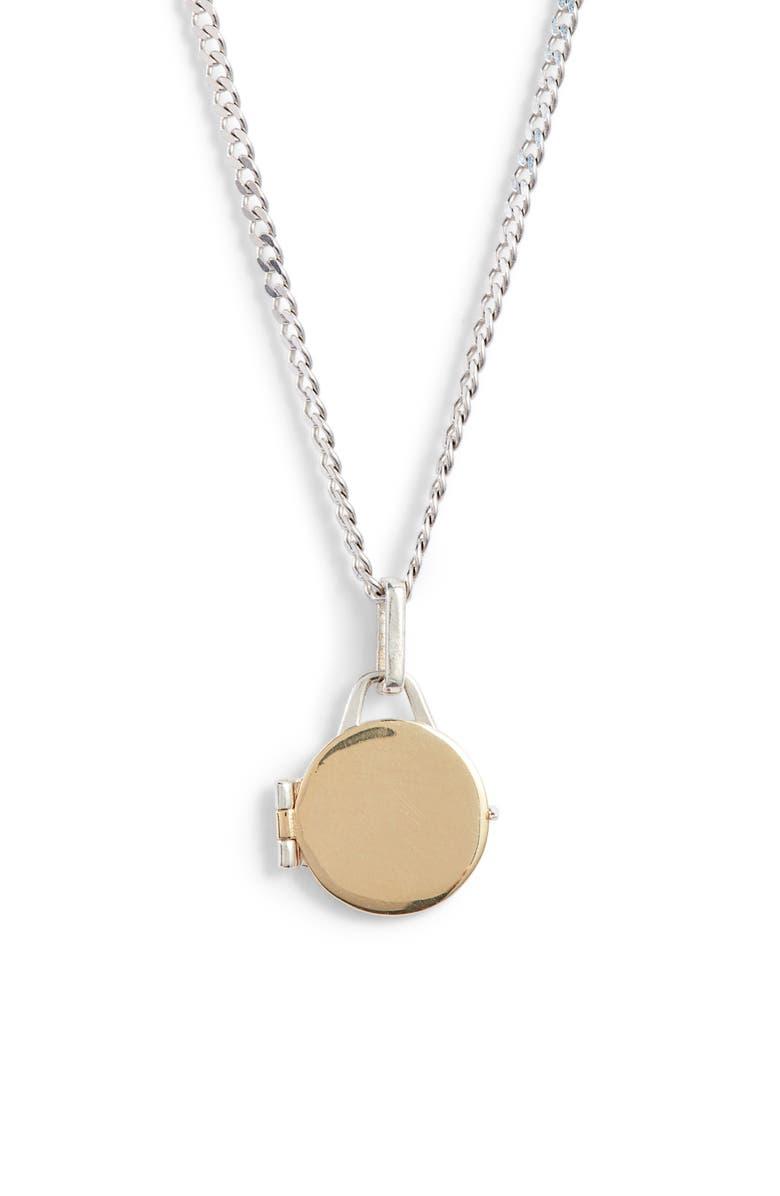 LOREN STEWART Mixed Metal Locket Pendant Necklace, Main, color, SILVER/ YELLOW GOLD