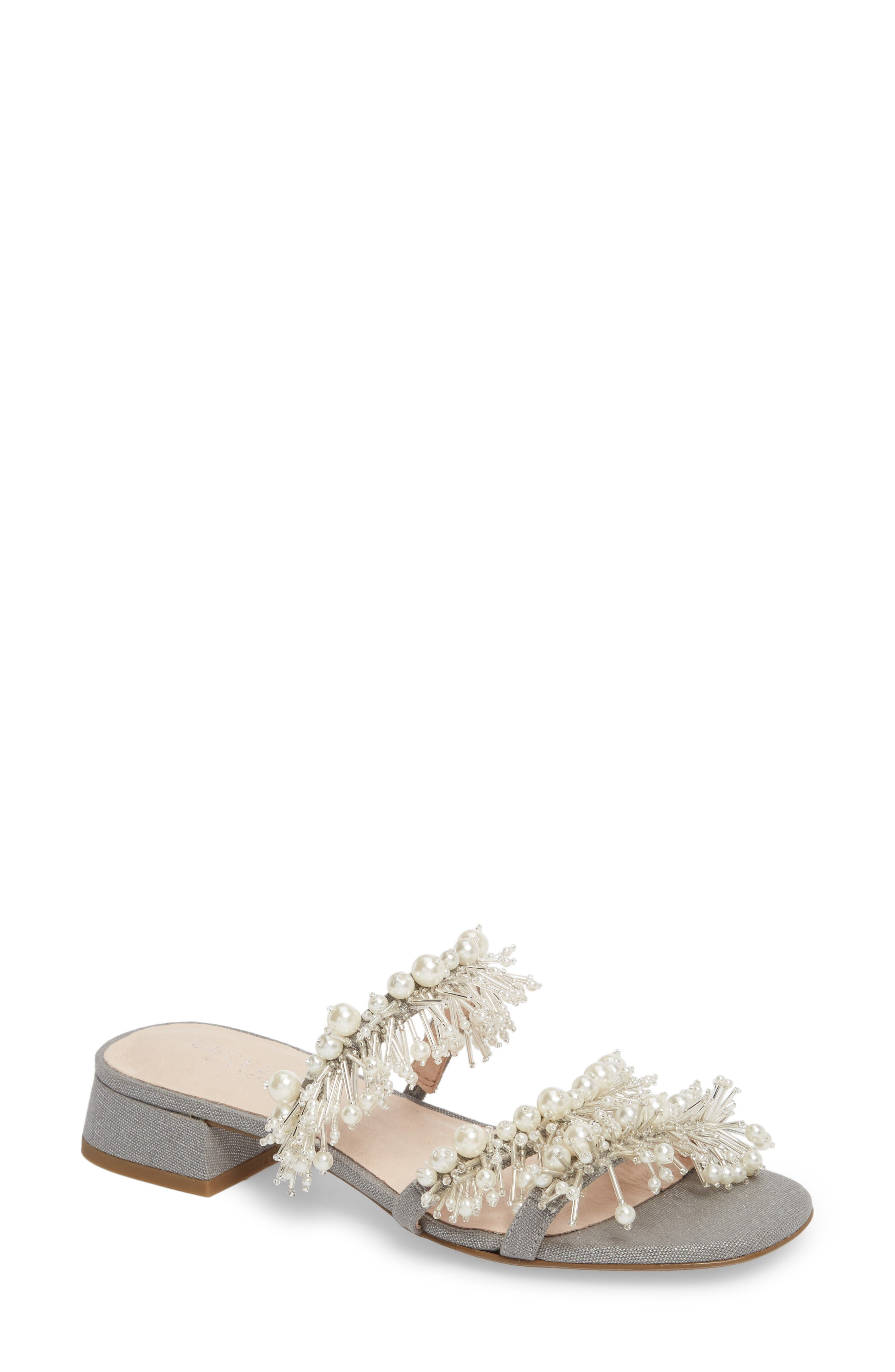 ,                             Fes Embellished Slide Sandal,                             Main thumbnail 1, color,                             GREY FABRIC