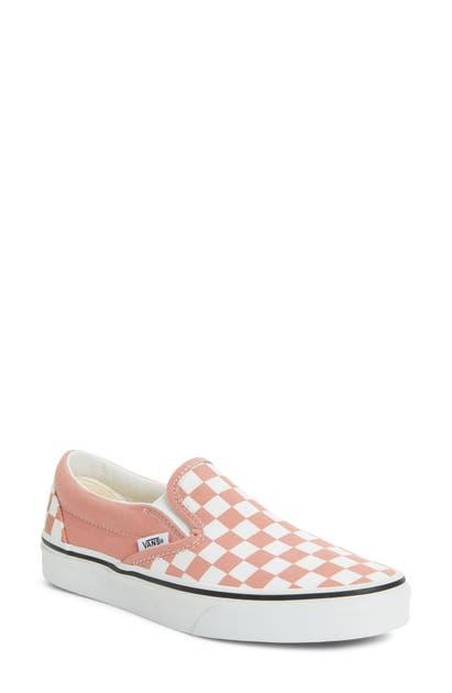 Vans Classic Checkerboard Slip-on Sneaker In Rose Dawn/ True White