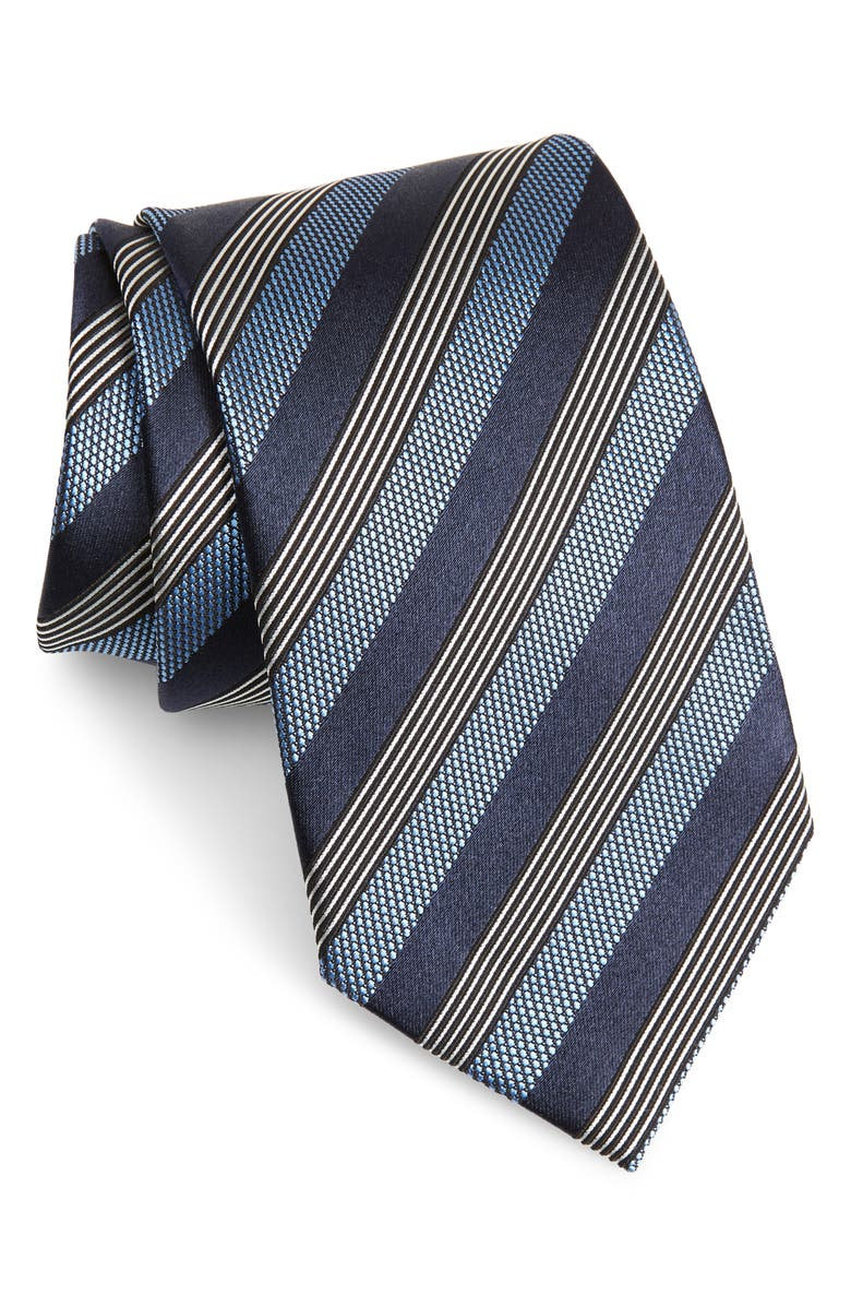 ERMENEGILDO ZEGNA Stripe Silk & Cotton Tie, Main, color, 424