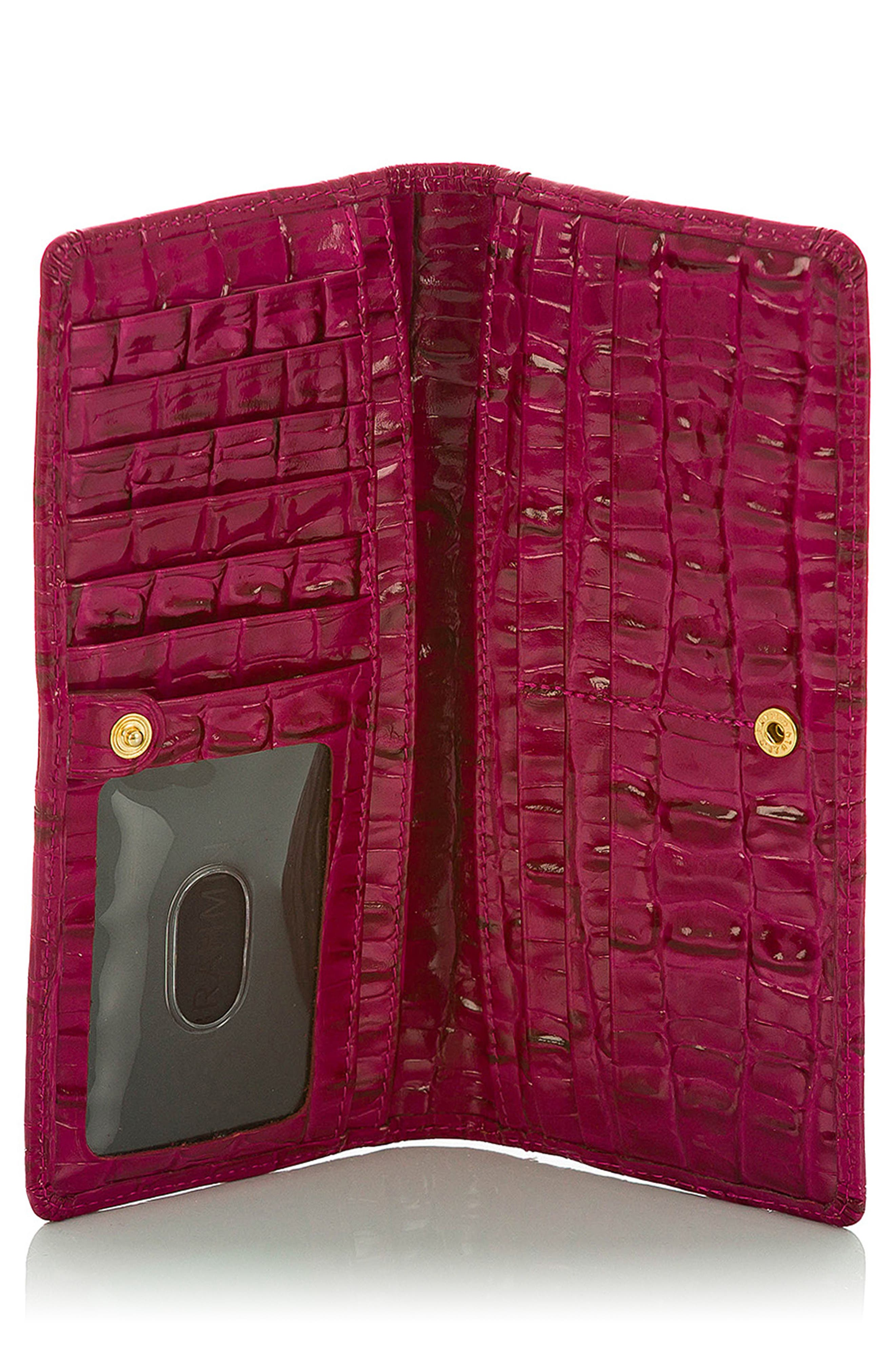 ,                             'Ady' Croc Embossed Continental Wallet,                             Alternate thumbnail 3, color,                             FUSCHIA LA SCALA