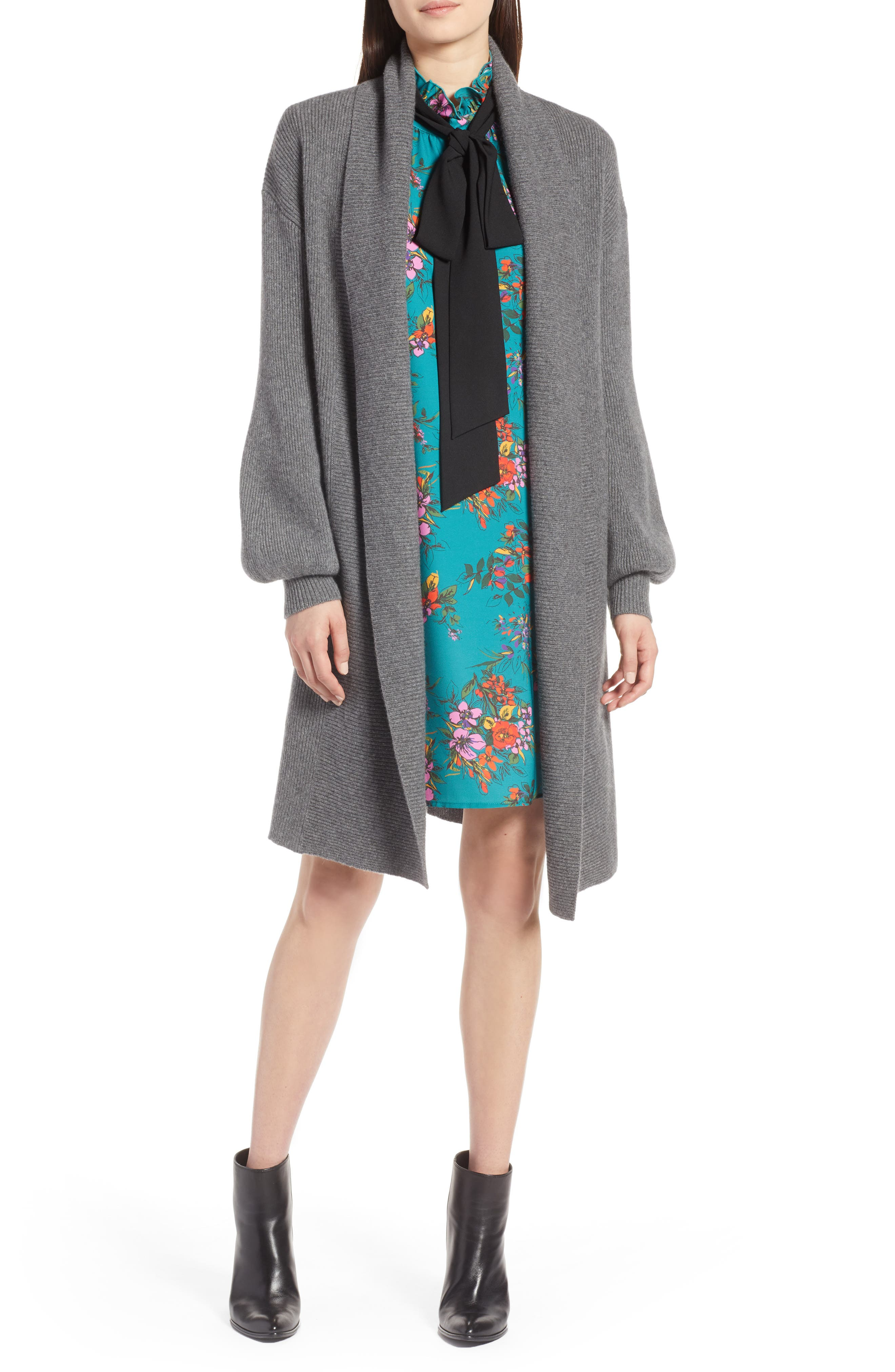 ,                             Blouson Sleeve Long Cashmere Cardigan,                             Main thumbnail 1, color,                             032