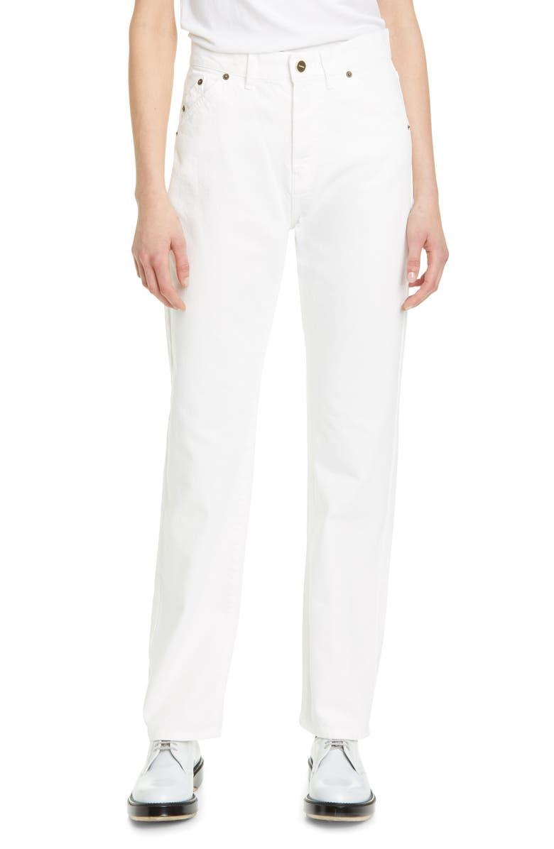 JACQUEMUS High Waist Straight Leg Jeans, Main, color, WHITE