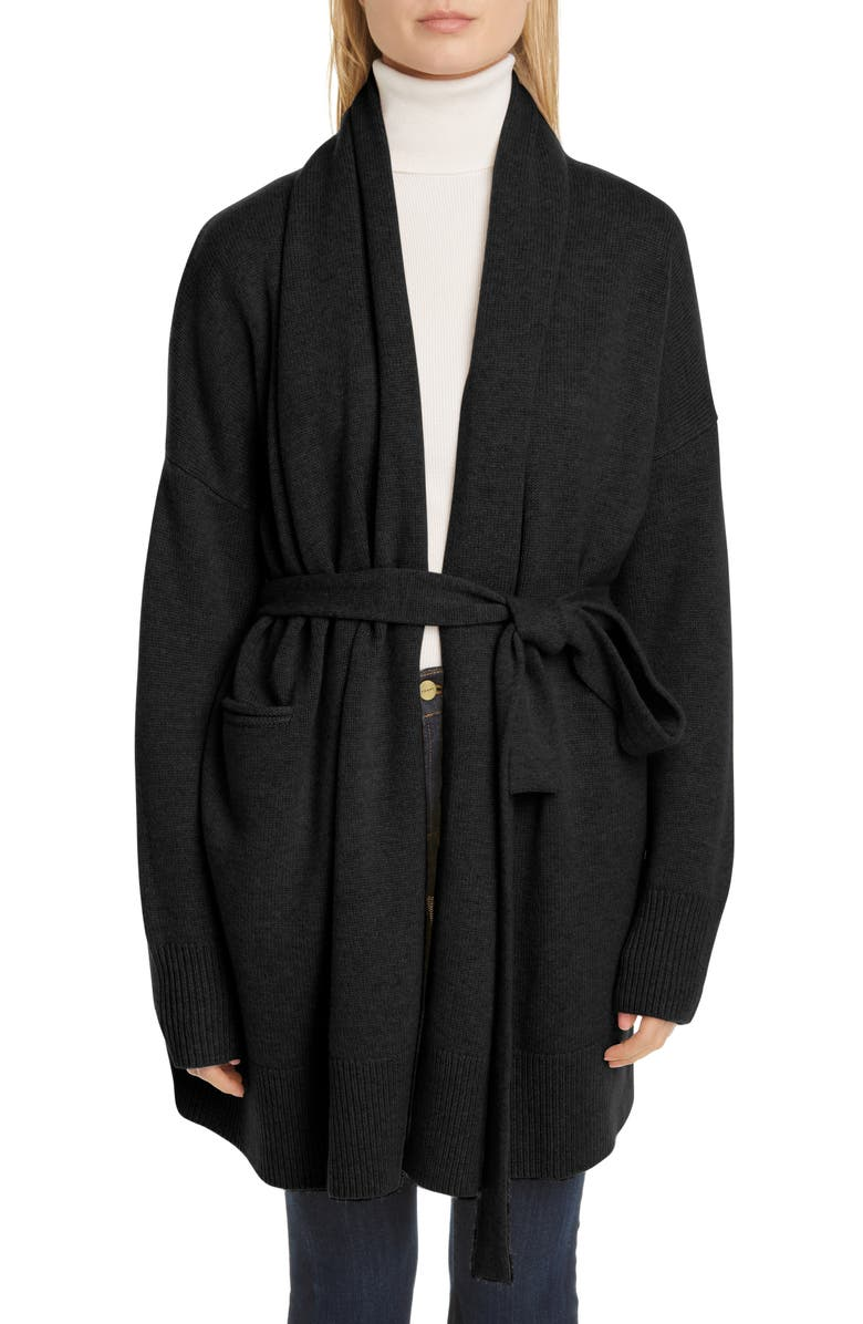 CO Essentials Wool & Cashmere Long Belted Cardigan, Main, color, BLACK