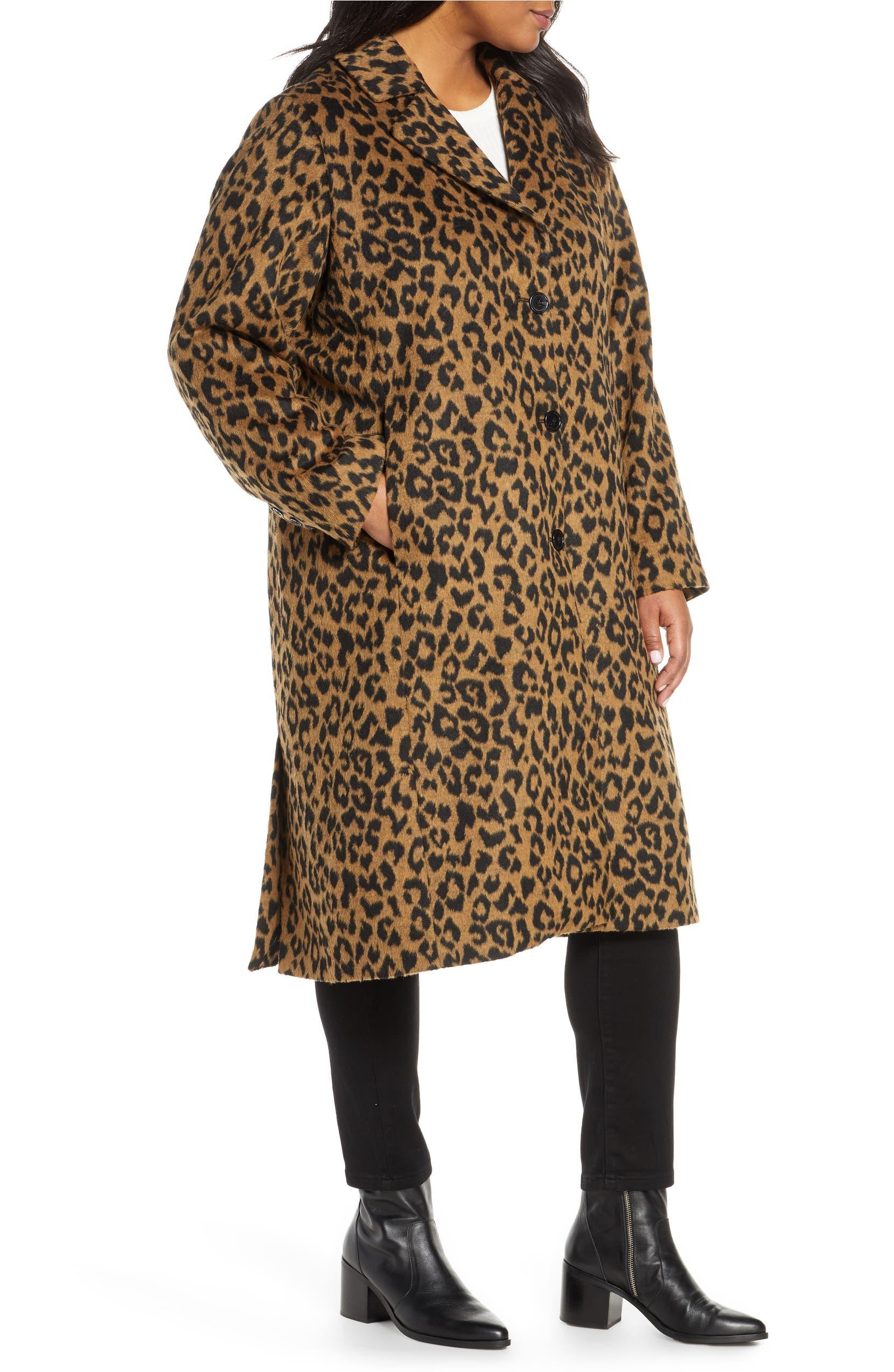 67c2c9a4aef1 Bernardo Leopard Print Coat (Plus Size)   Nordstrom