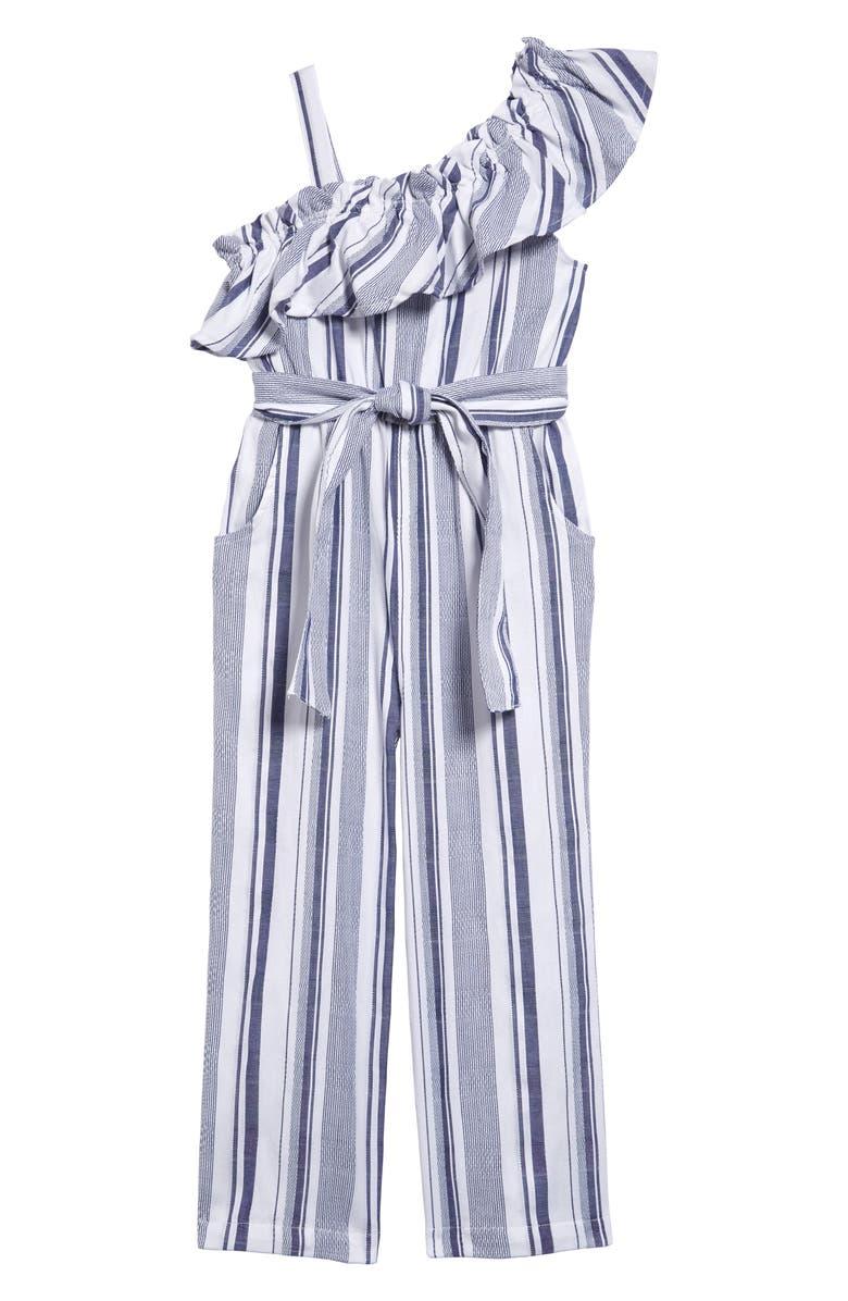 HABITUAL Kai Ruffle Stripe Jumpsuit, Main, color, INDIGO