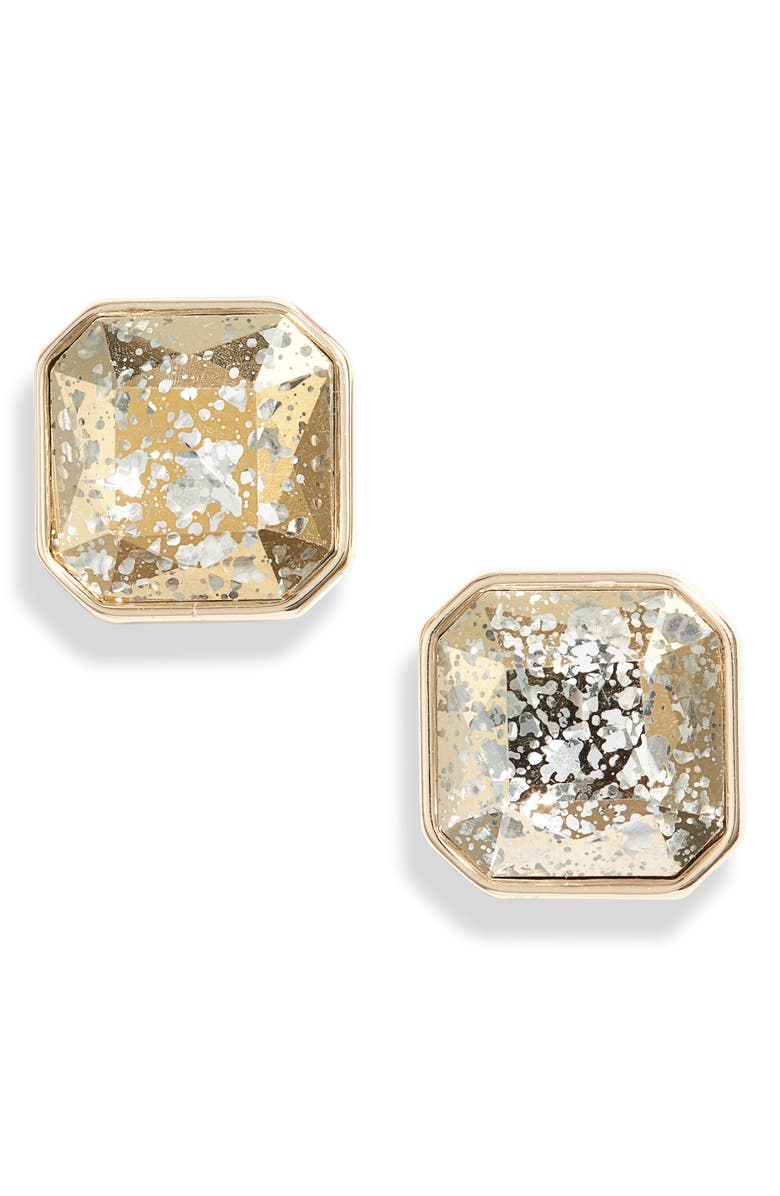 RACHEL PARCELL Mirrored Jewel Stud Earrings, Main, color, SILVER- GOLD