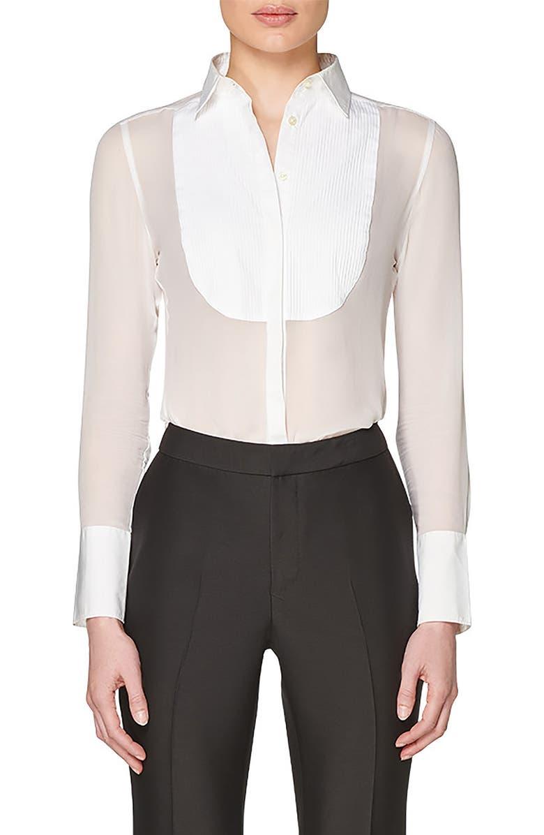SUISTUDIO Allee Silk & Cotton Tuxedo Blouse, Main, color, WHITE