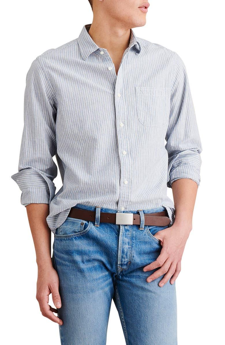 ALEX MILL Stripe Cotton & Linen Button-Up Shirt, Main, color, 461