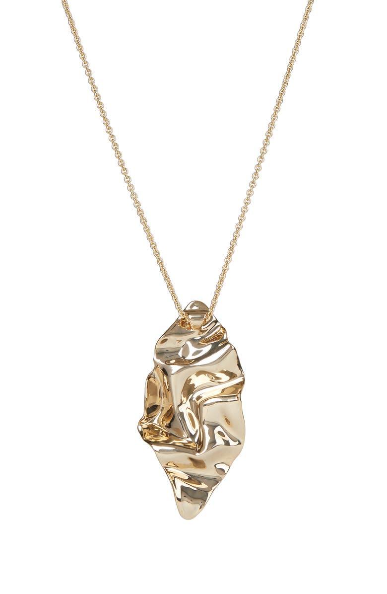 ALEXIS BITTAR Asteria Nova Crumpled Metal Long Pendant Necklace, Main, color, 10K GOLD
