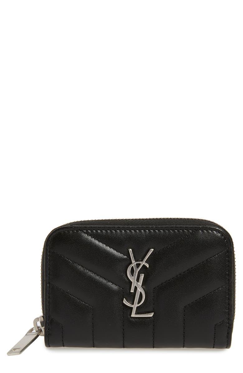 SAINT LAURENT Loulou Matelassé Leather Card Wallet, Main, color, 001
