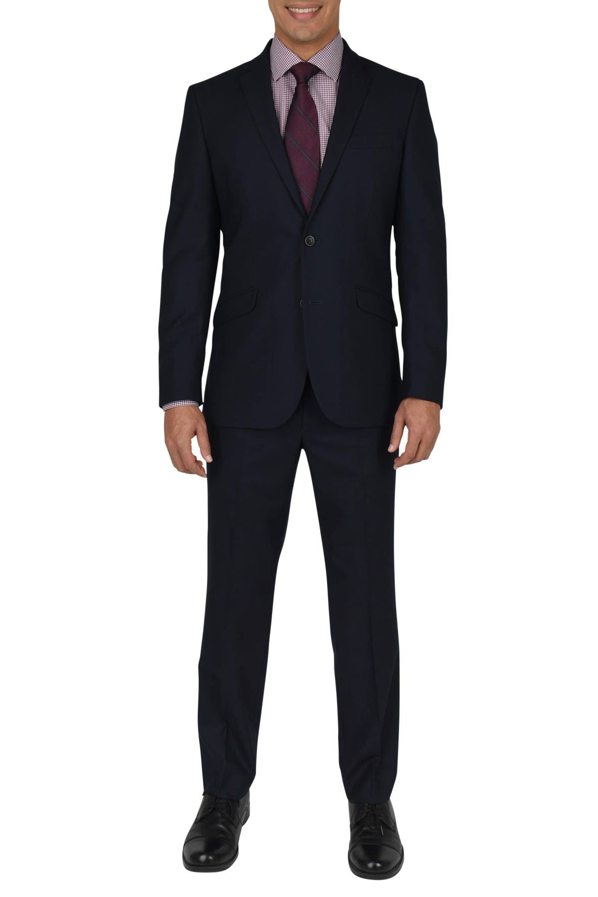 Image of Kenneth Cole Reaction Navy Shadow Check Two Button Notch Lapel Slim Fit Suit