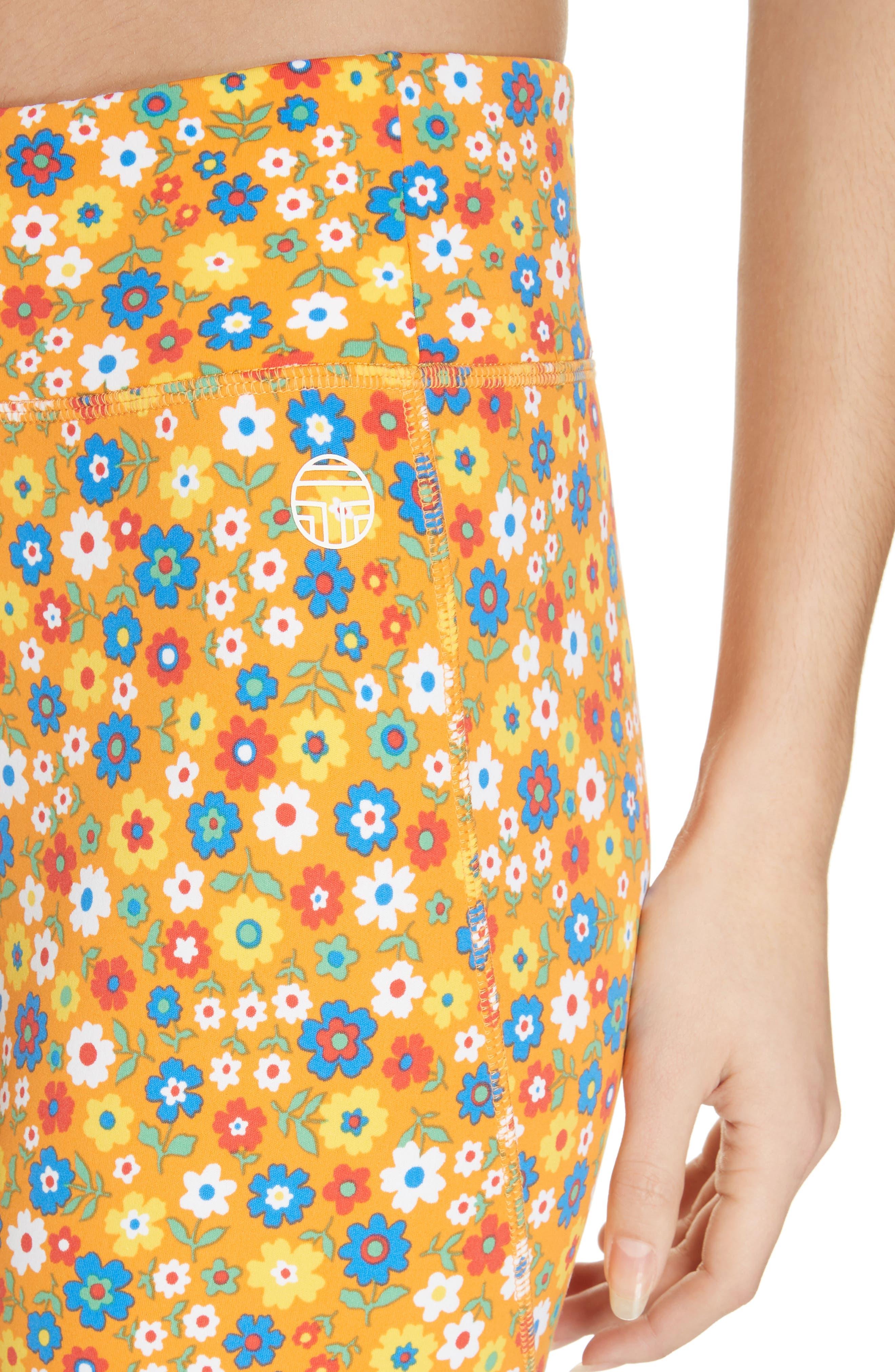 ,                             Floral Print Chevron 7/8 Leggings,                             Alternate thumbnail 5, color,                             RITZY FLORAL VIBRANT ORANGE