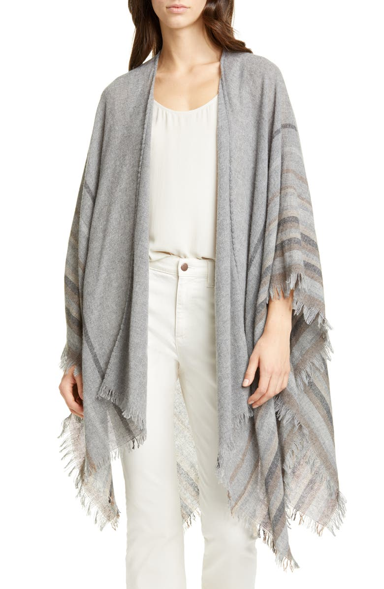 EILEEN FISHER Stripe Wool Blend Poncho Wrap, Main, color, 030