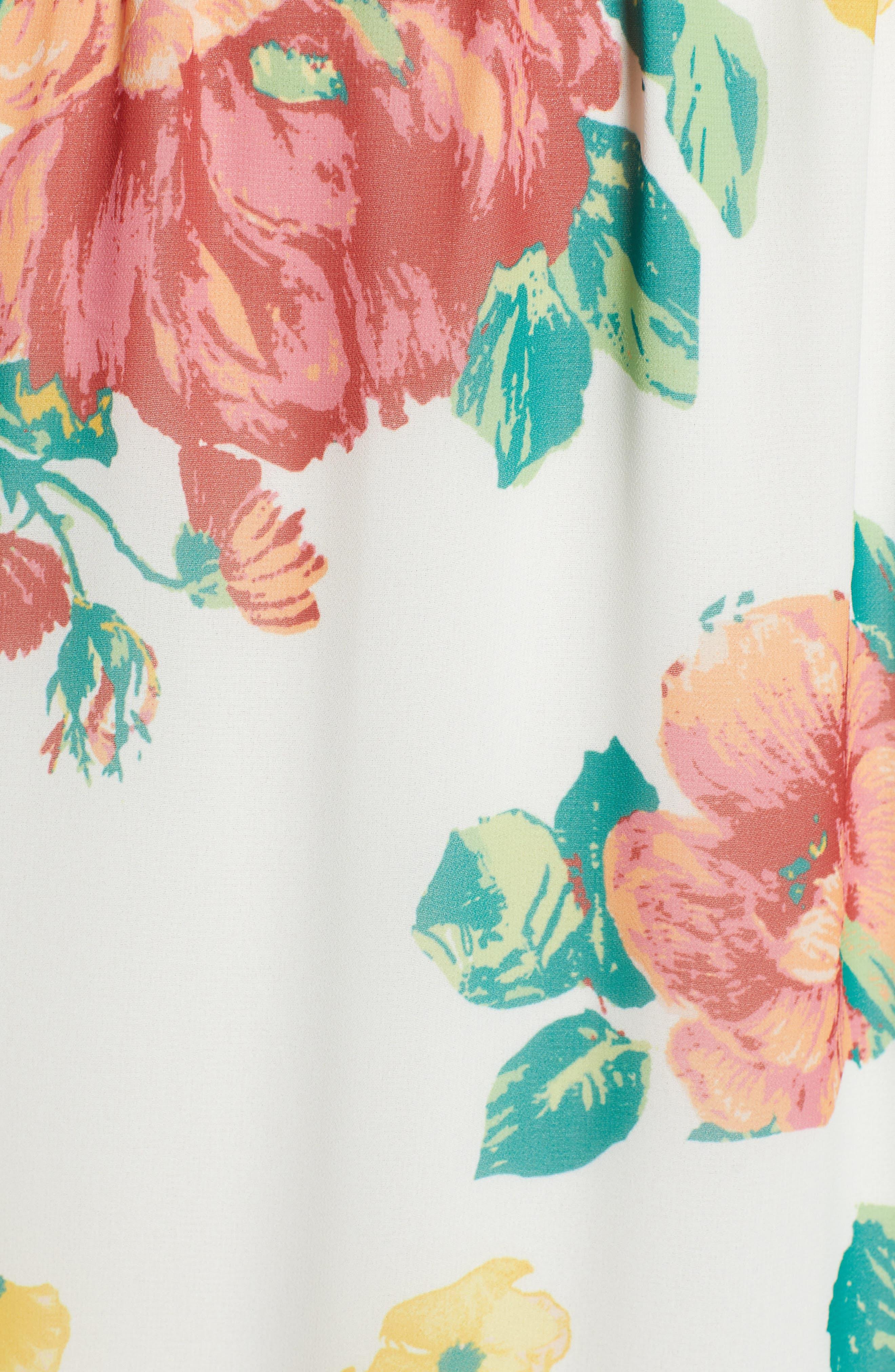,                             Flutter Sleeve High/Low Dress,                             Alternate thumbnail 6, color,                             IVORY BOLD ROSE