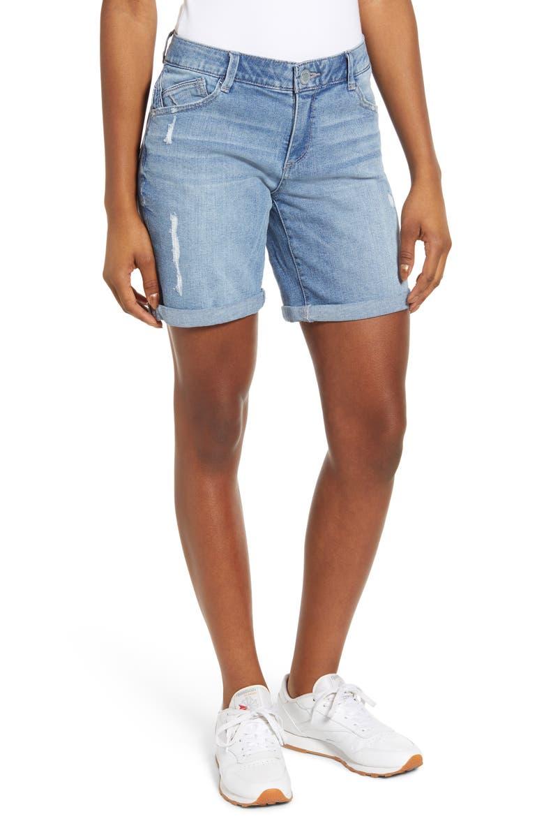 WIT & WISDOM Ab-Solution Denim Bermuda Shorts, Main, color, LIGHT BLUE
