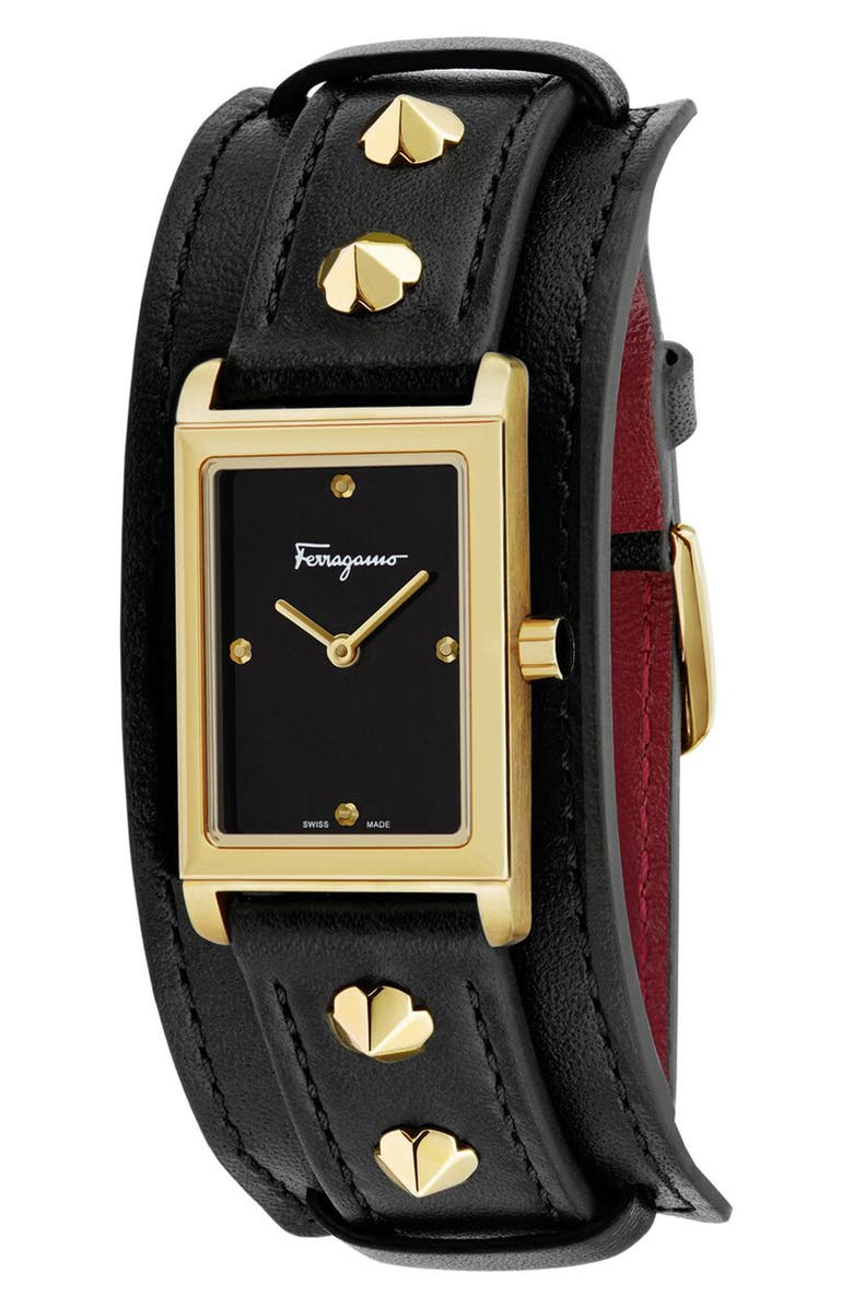 SALVATORE FERRAGAMO Fiore Studs Leather Strap Watch, 34mm, Main, color, BLACK/ GOLD
