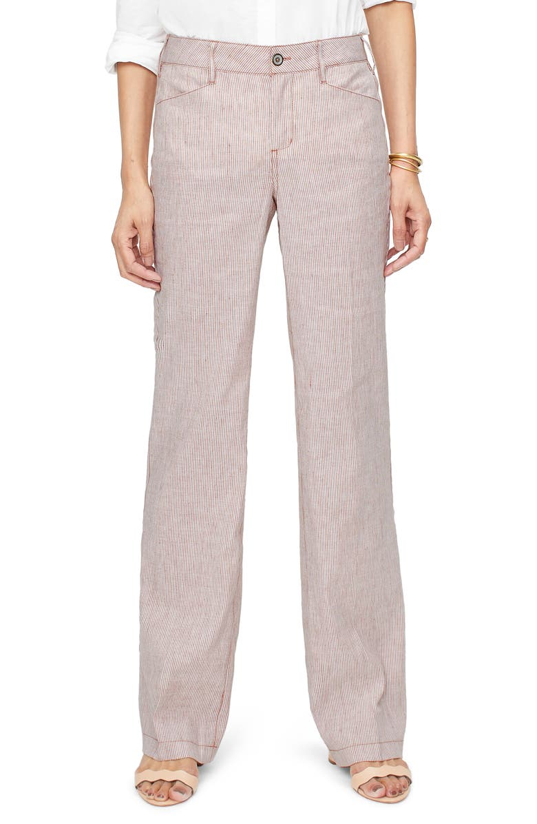 NYDJ Stripe Linen & Cotton Trousers, Main, color, SAND STRIPE