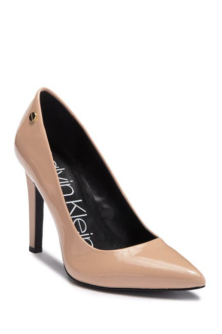 Image of Calvin Klein Brady Patent Leather Pointed-Toe Pump