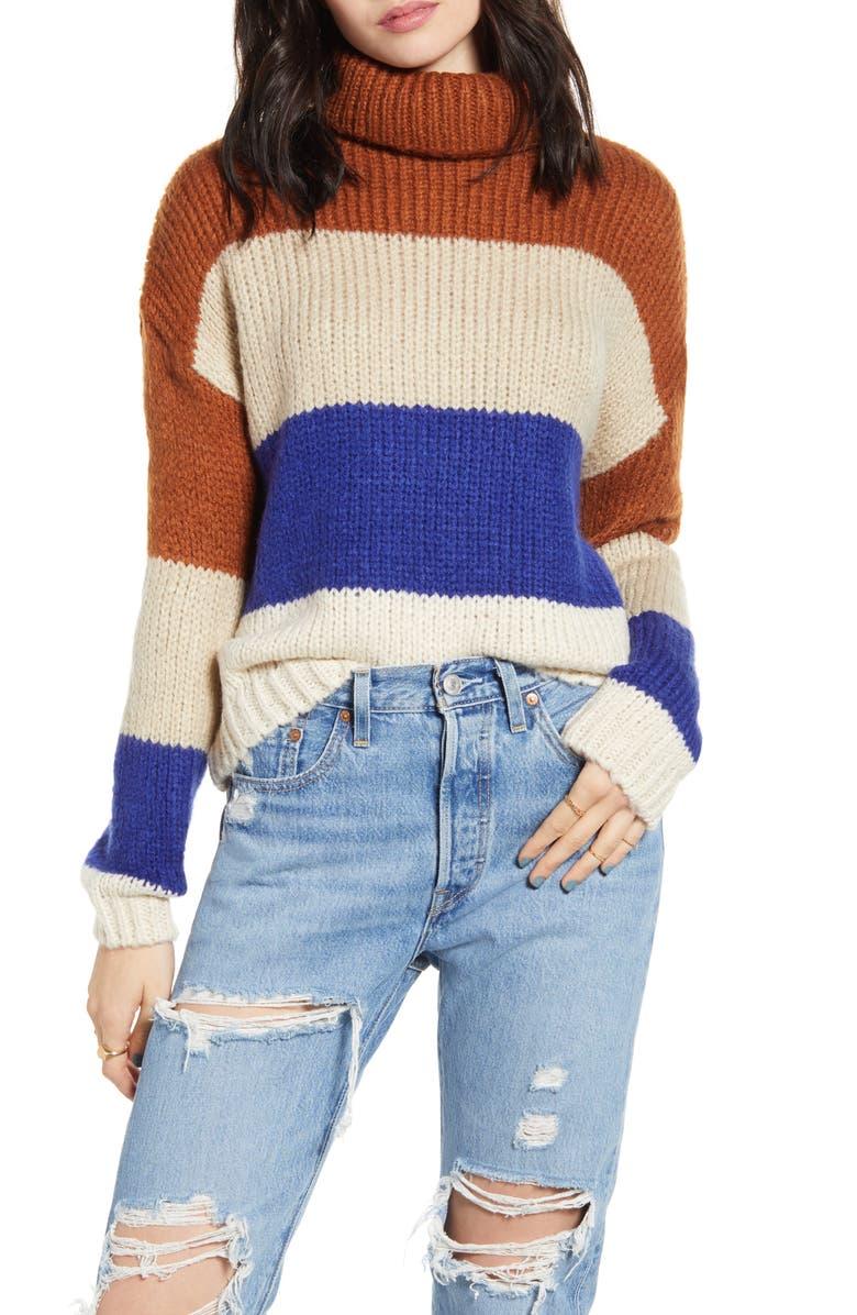 WOVEN HEART Stripe Turtleneck Sweater, Main, color, 200