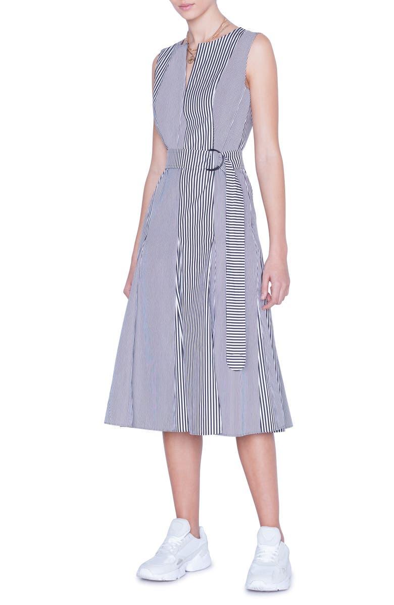 AKRIS PUNTO Belted Stripe Midi Dress, Main, color, CREAM/ BLACK