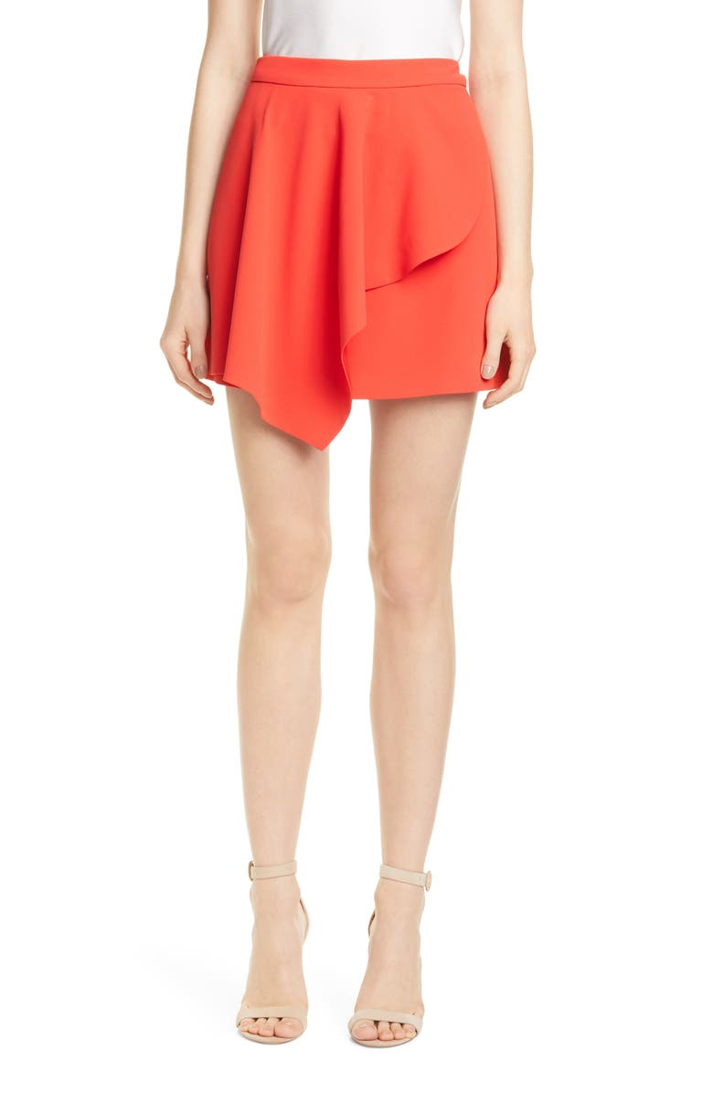 ALICE + OLIVIA Nicky Asymmetrical Miniskirt, Main, color, CHERRY