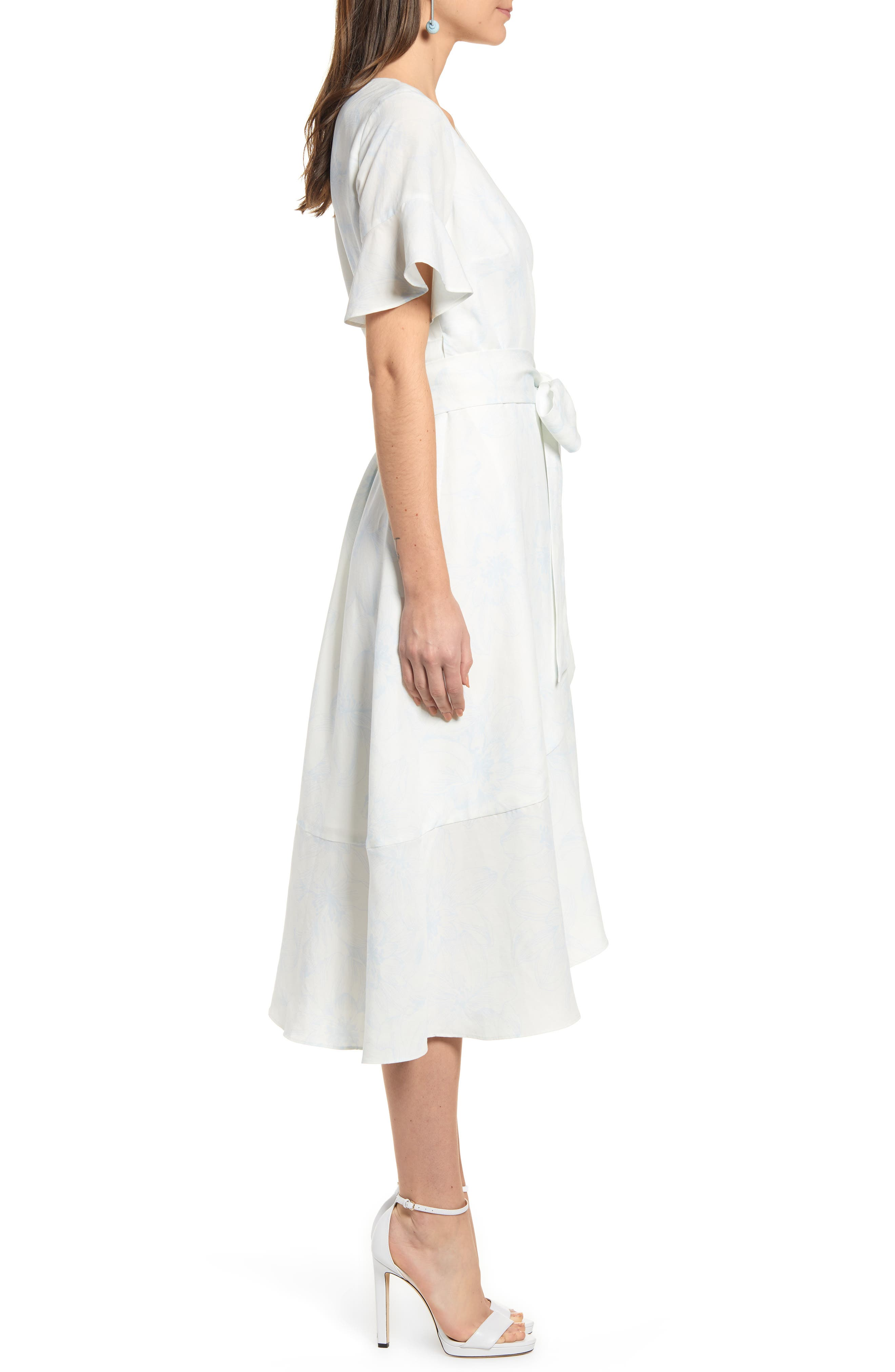 ,                             Ruffle Wrap Dress,                             Alternate thumbnail 4, color,                             IVORY DOVE SKETCH FLORAL