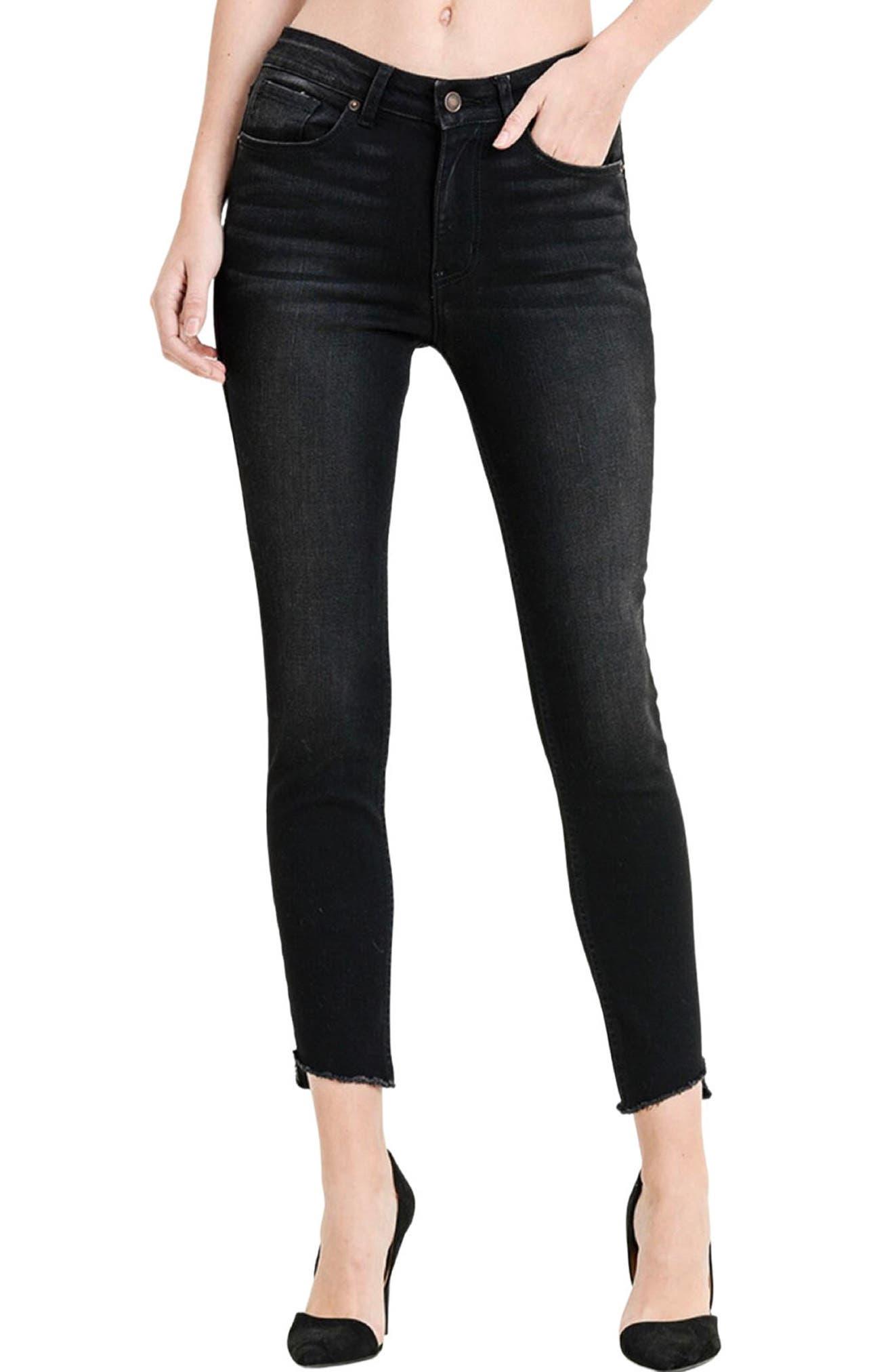 Verona High Waist Slant Hem Ankle Skinny Jeans