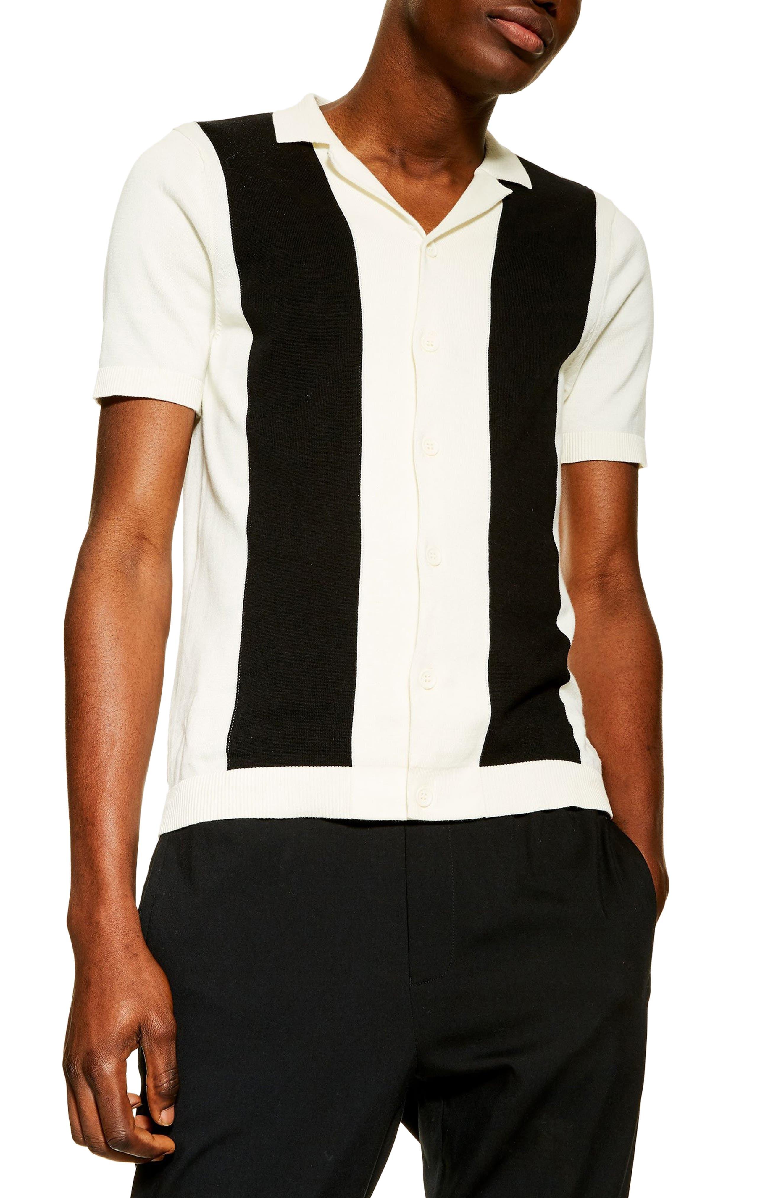 1960s – 70s Mens Shirts- Disco Shirts, Hippie Shirts Mens Topman Colorblock Polo Sweater $50.00 AT vintagedancer.com