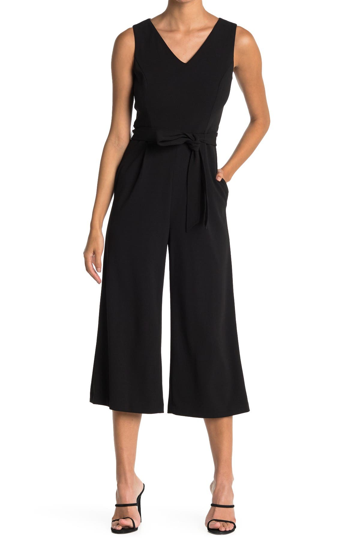Image of Calvin Klein V-Neck Sleeveless Cropped Jumpsuit