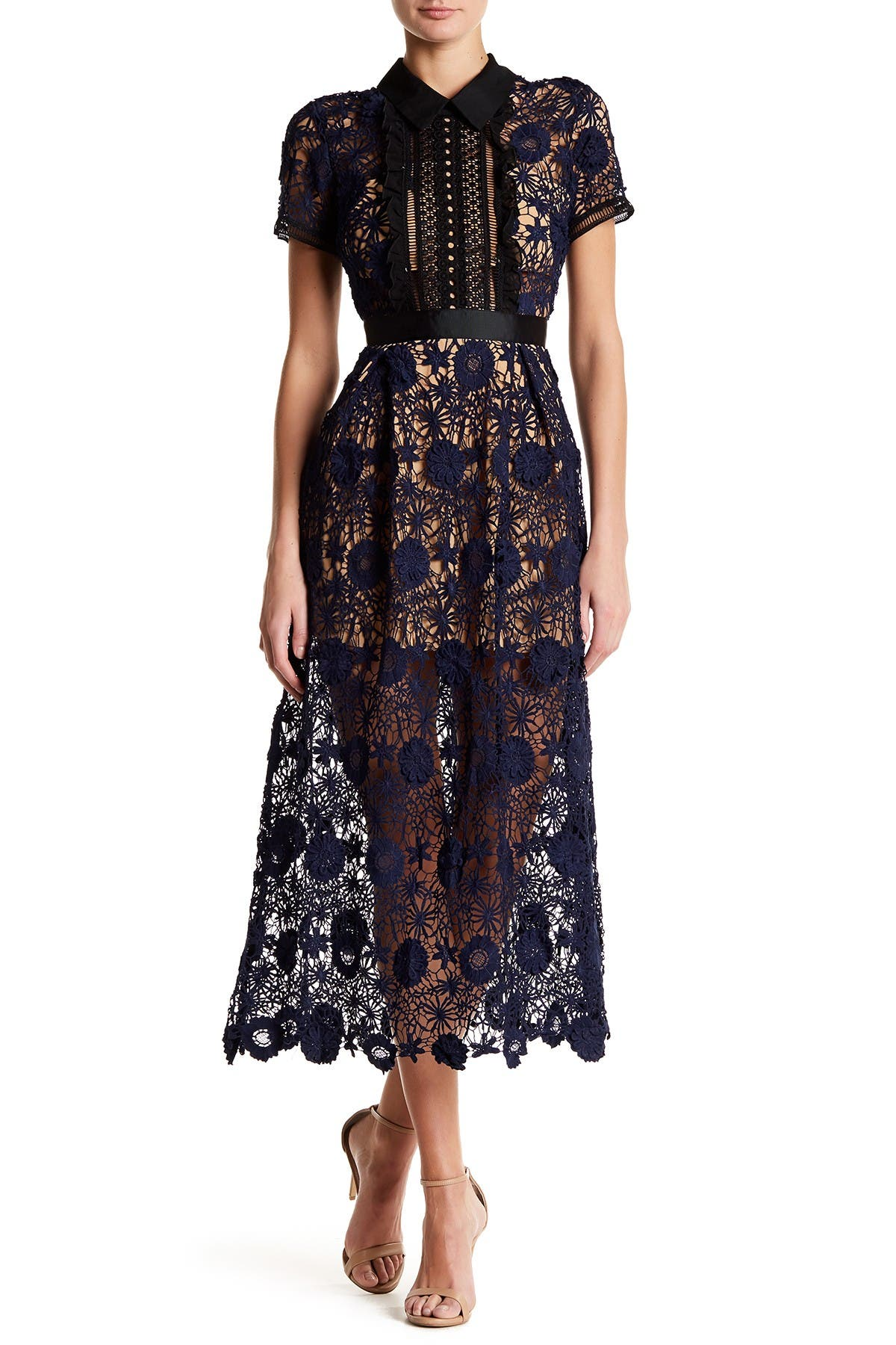 Image of Few Moda Lace Yoke Midi Dress