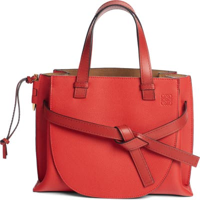 Loewe Gate Calfskin Leather Tote - Red