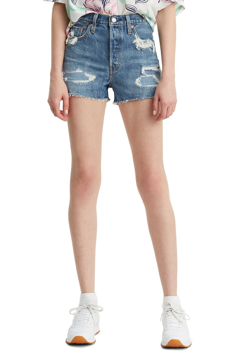 LEVI'S<SUP>®</SUP> 501<sup>®</sup> Ripped High Waist Cutoff Denim Shorts, Main, color, GET TRASHED