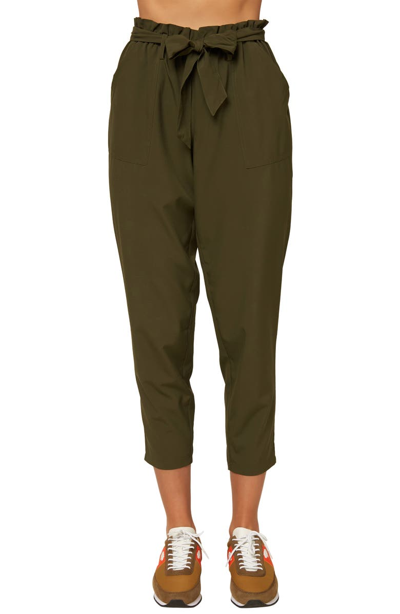 O'NEILL Layover Paperbag Waist Ankle Pants, Main, color, DARK OLIVE